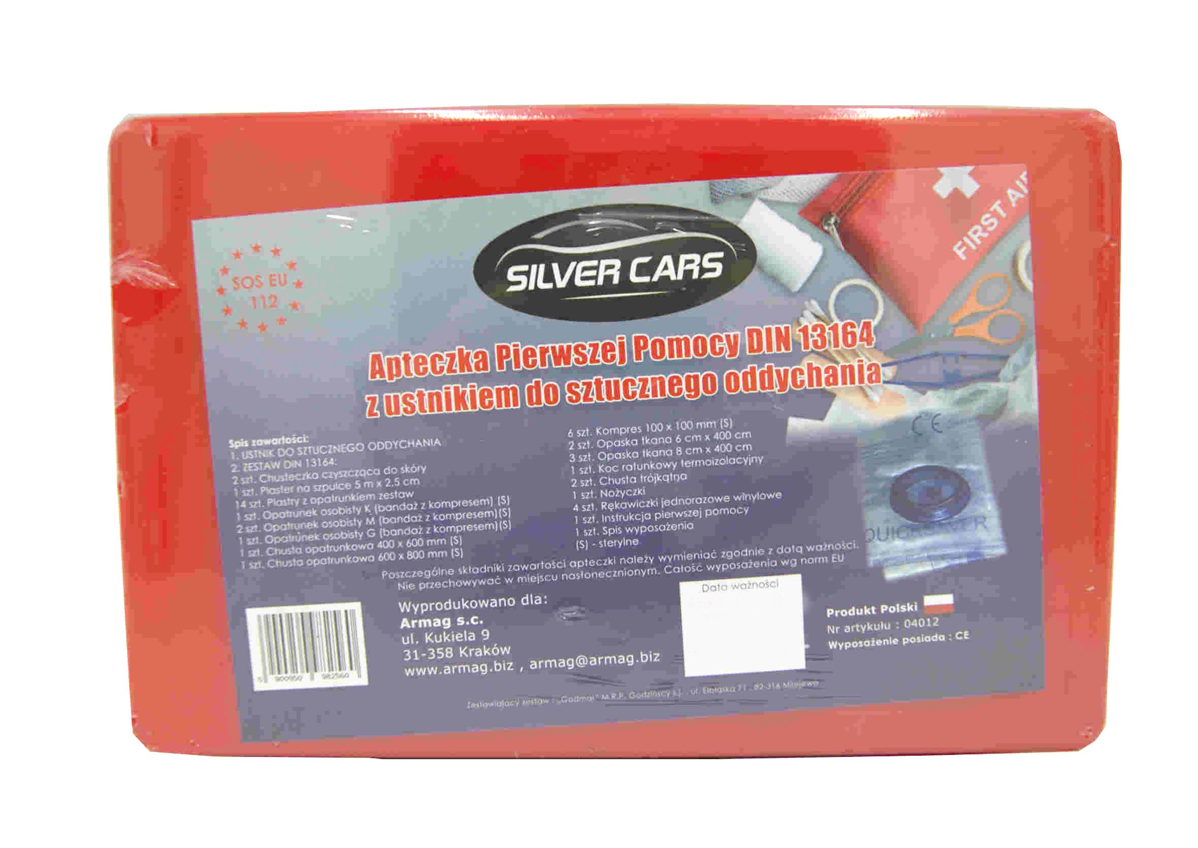 SilverCars Apteczka Samochodowa z ustnikiem UE DIN 13164 na Słowację Plastikowa
