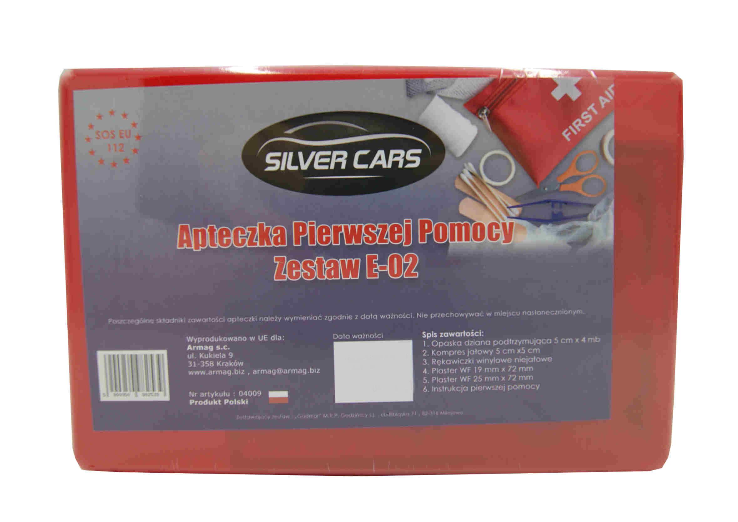 SilverCars Apteczka Samochodowa pierwszej pomocy E-02 Plastikowa