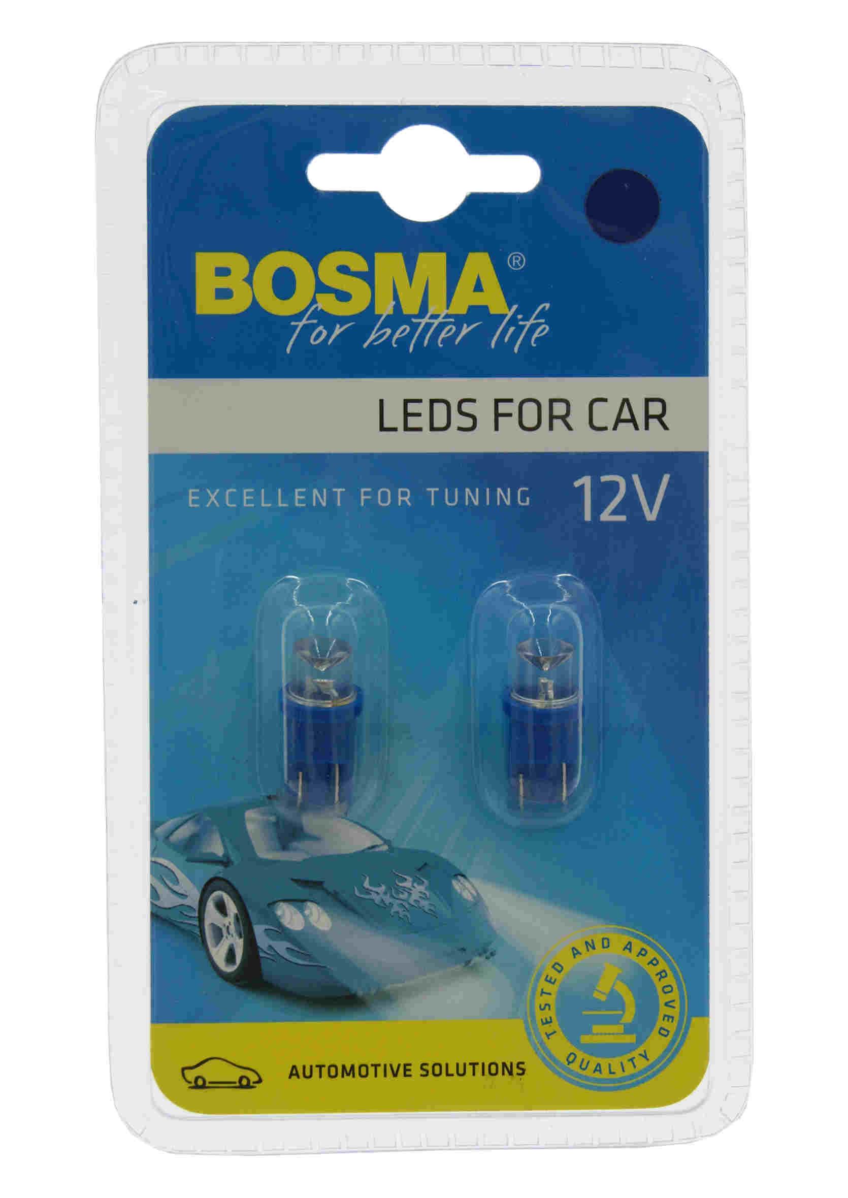 Bosma LED 3585 W5W 12V T10 1xLED Wide View Blue Żarówki Samochodowe Niebieskie 2szt.