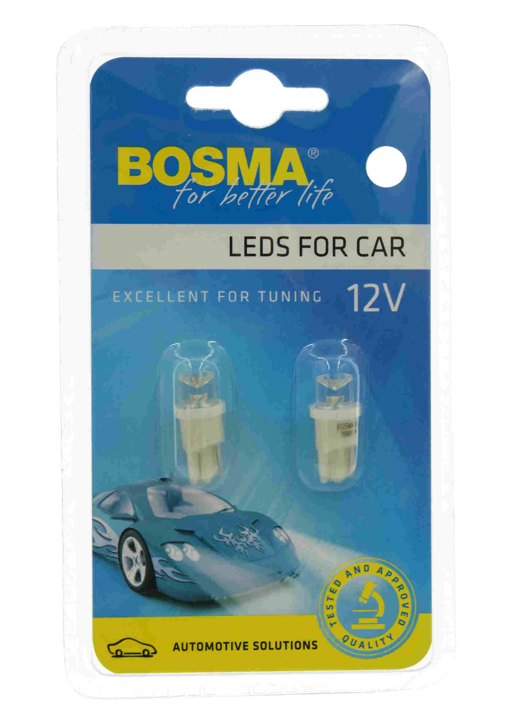Bosma LED 3608 W5W 12V T10 1xLED Wide Viev White Żarówki Samochodowe Białe 2szt.