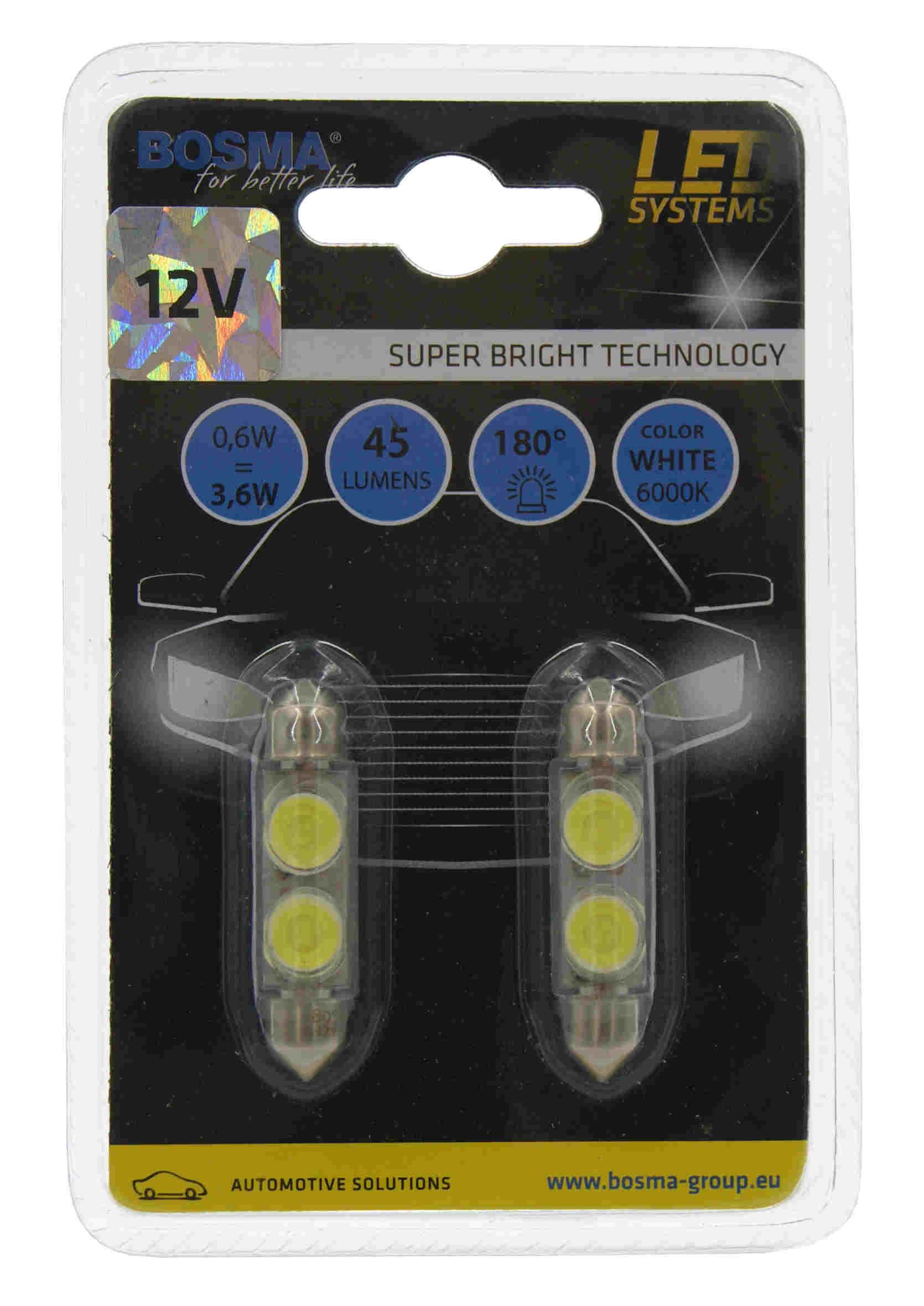 Bosma LED Białe Żarówki Rurki SV8,5 12V 2xSMD 3734 2szt