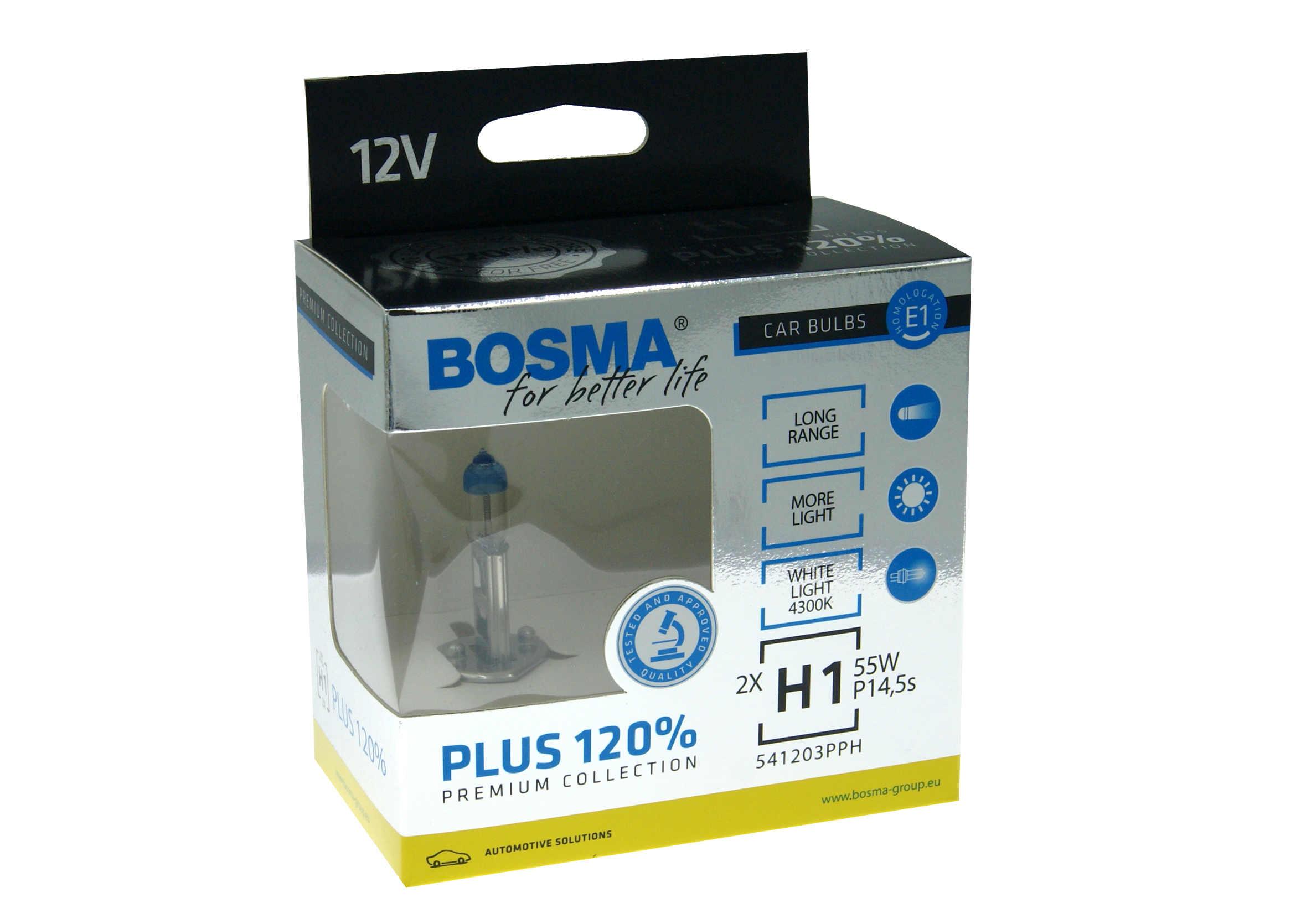 Bosma Premium Plus H1 120% 12V 55W Komplet Żarówek