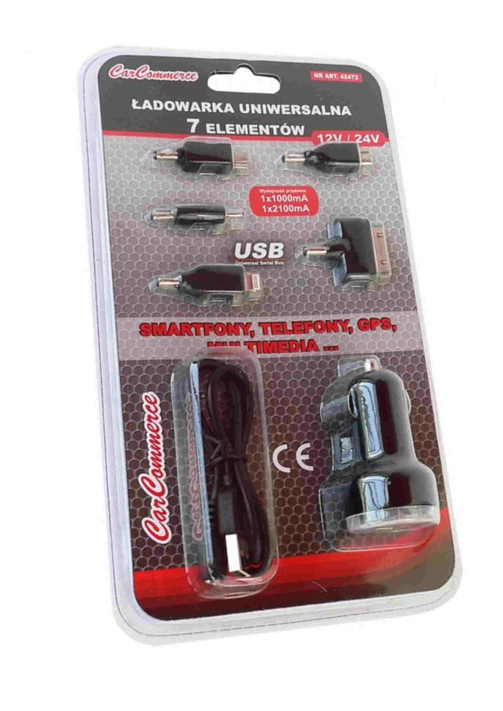 CarCommerce Ładowarka Samochodowa 2x USB 12V 24V 5 Końcówek z Kablem