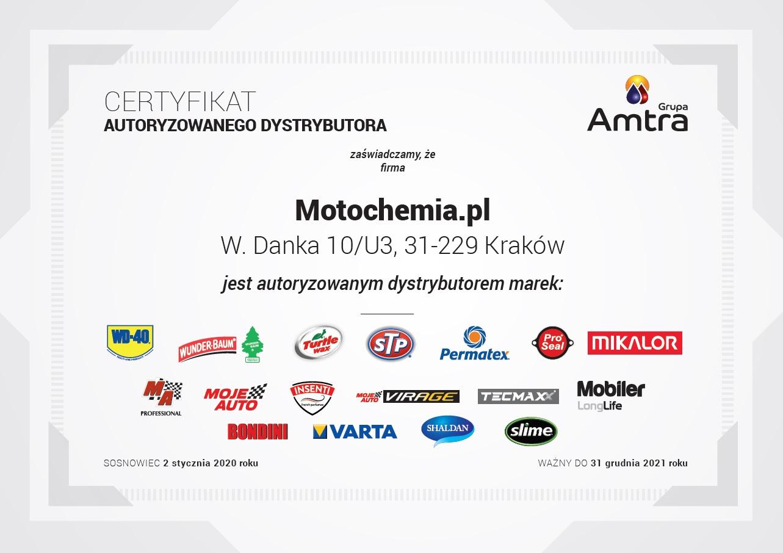 Certyfikat Oficjalnego Dystrybutora Amtra - Motochemia.pl