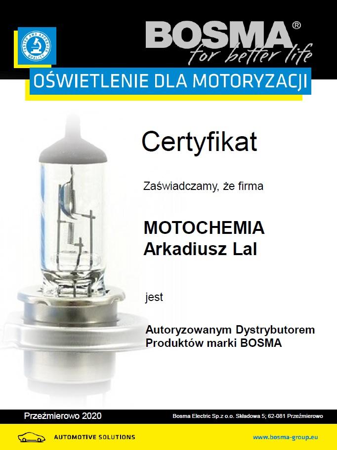 Certyfikat Oficjalnego Punktu Sprzedaży Żarówek i Akcesorii Bosma