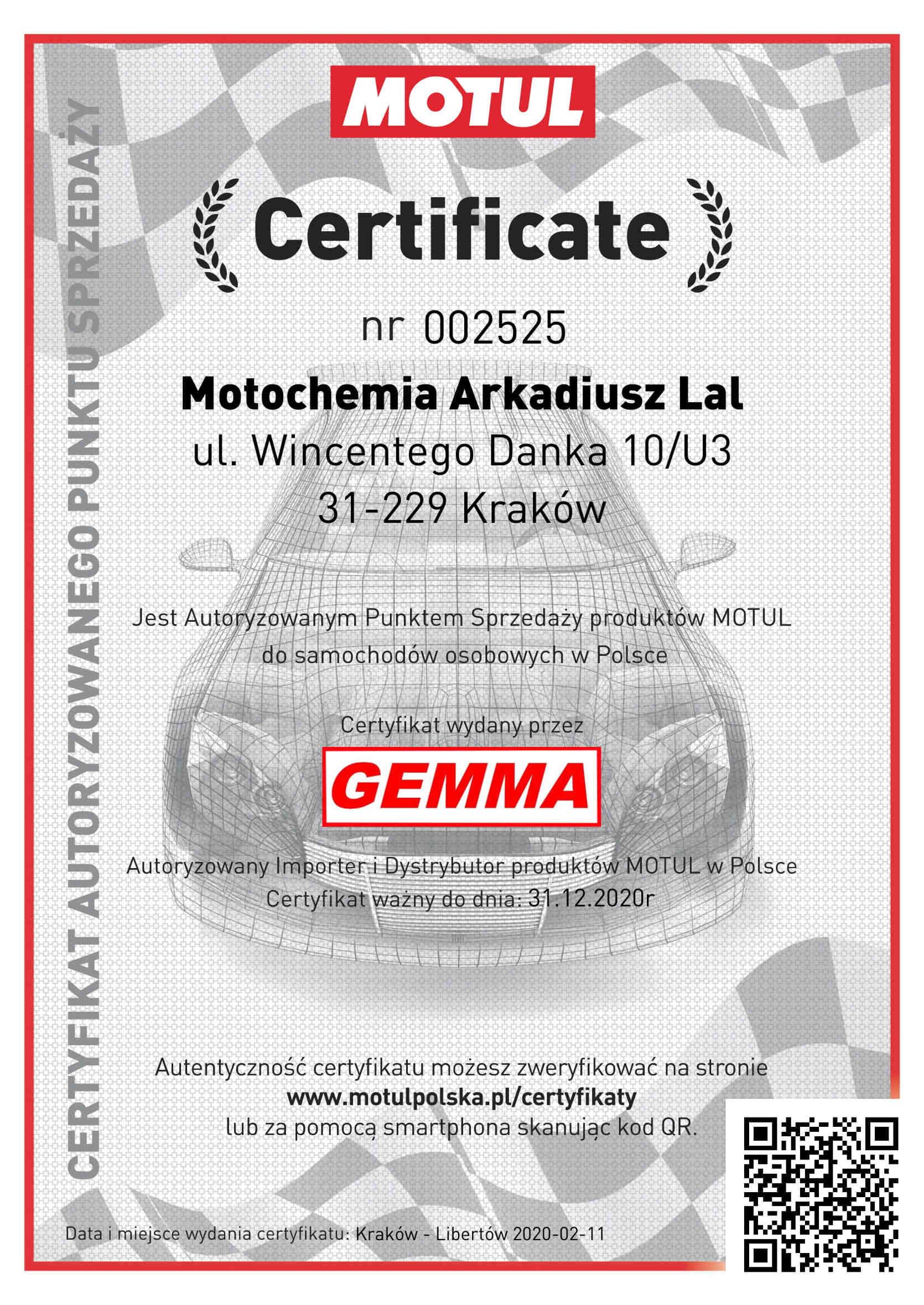 Certyfikat Oficjalnego Punktu Sprzedaży Motul Oleje Samochodowe