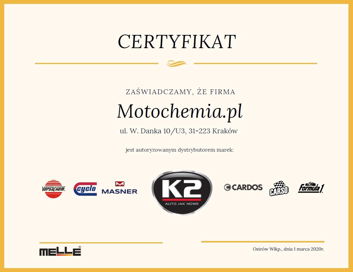 Certyfikat Oficjalnego Dystrybutora Marki K2 - Motochemia.pl