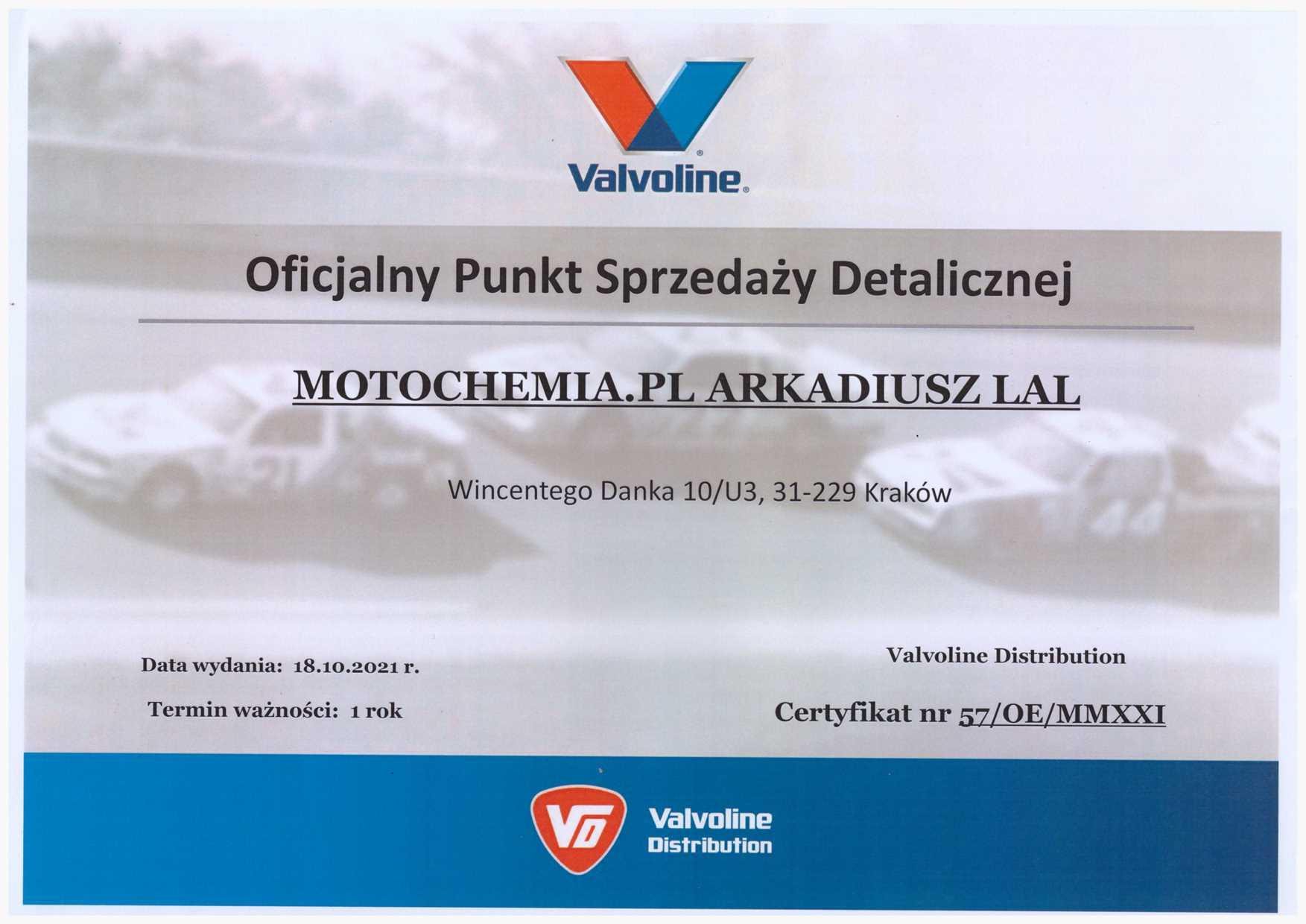 Certyfikat Oficjalnego Punktu Sprzedaży Olejów Valvoline - Motochemia