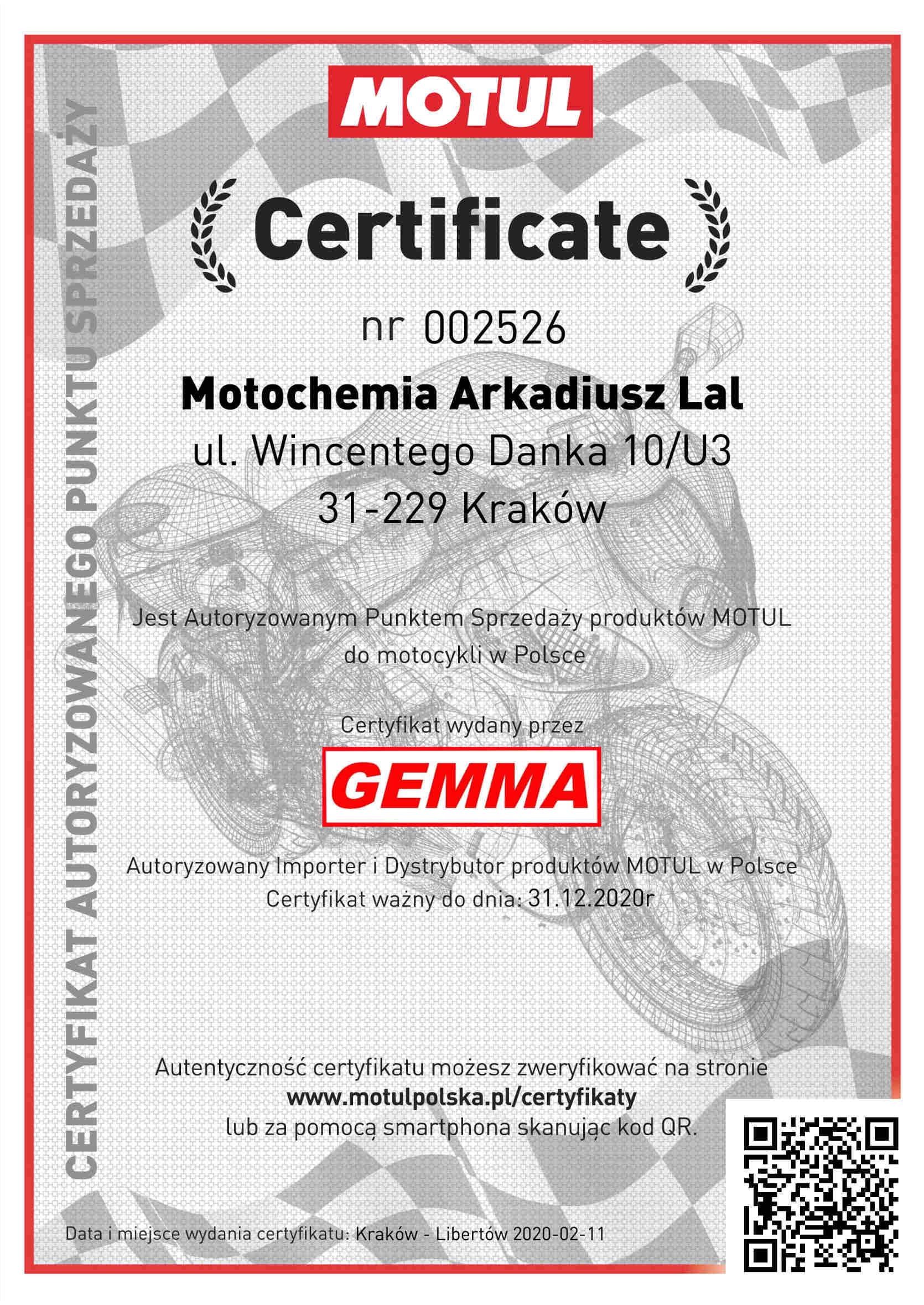 Certyfikat Oficjalnego Punktu Sprzedaży Motul Oleje Motocyklowe