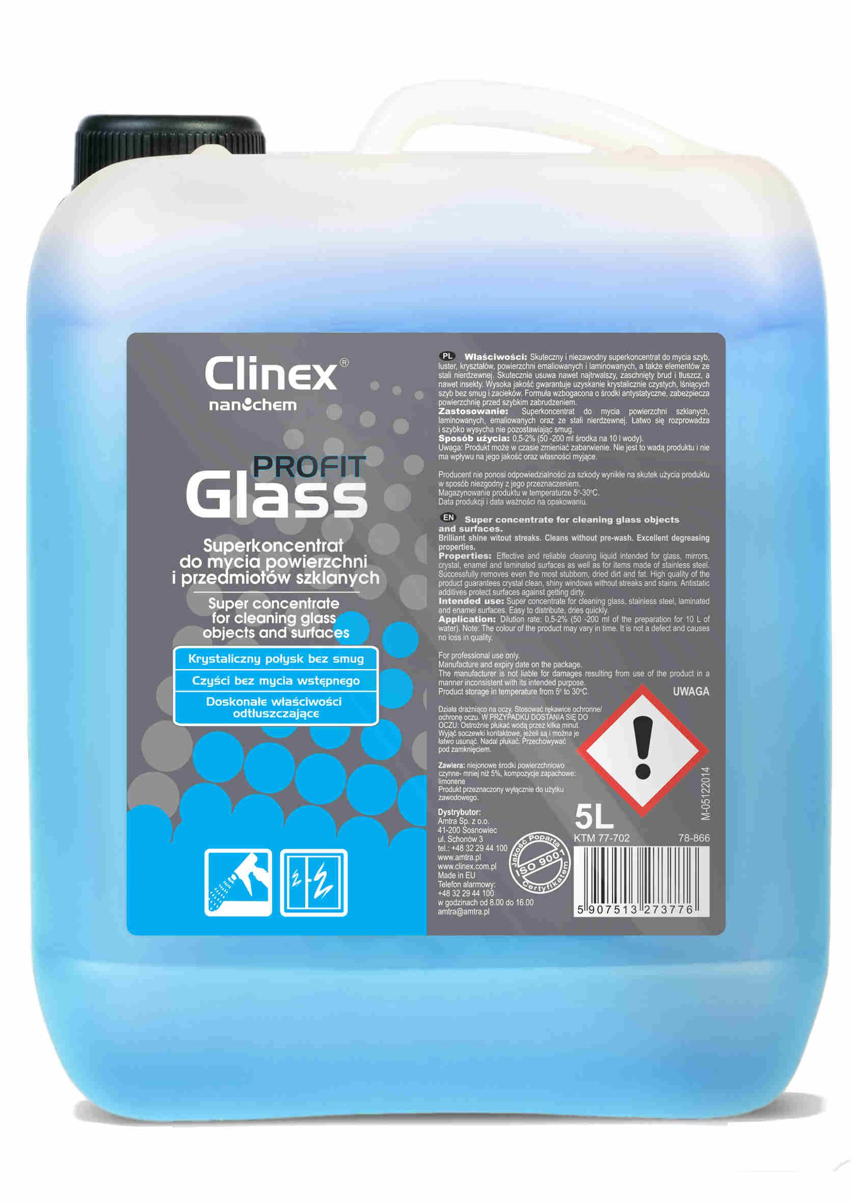 Clinex Profit Glass - Koncentrat do Mycia Powierzchni Szklanych 5L