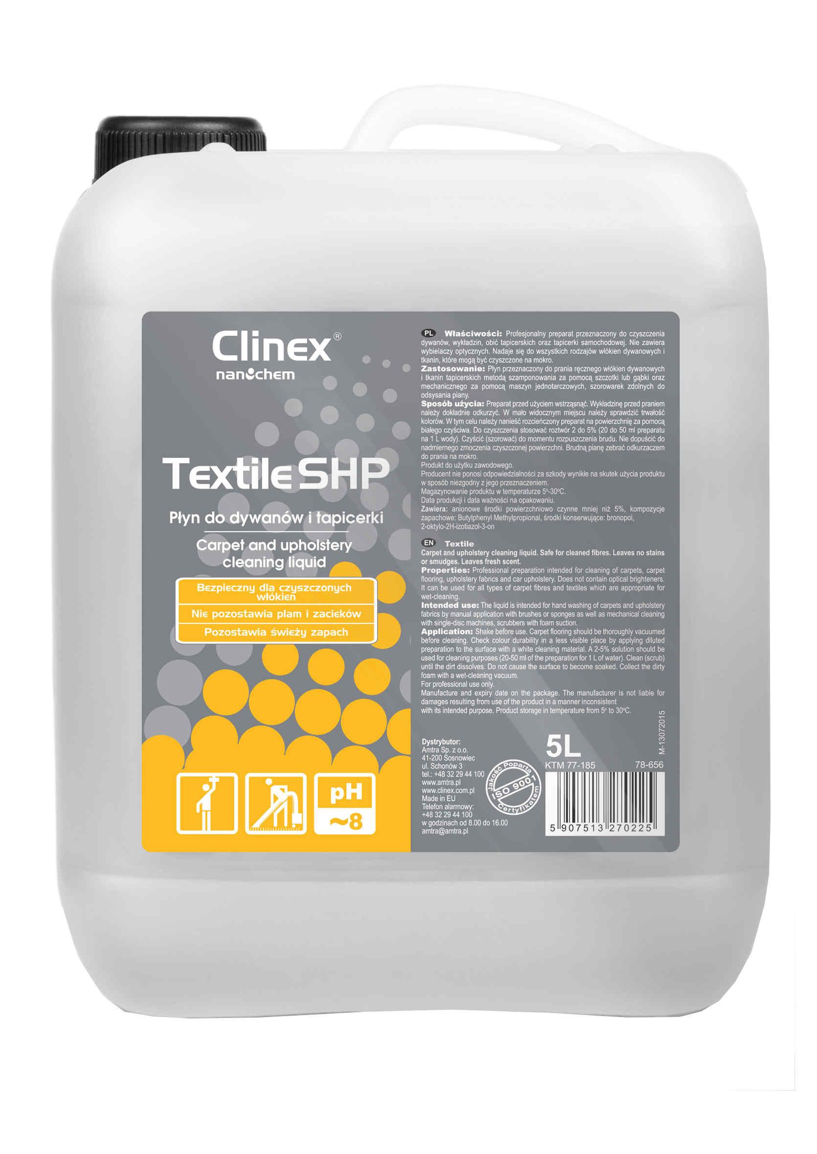 Clinex Textile SHP 5L Płyn do Prania Dywanów Wykładziny i Tapicerki