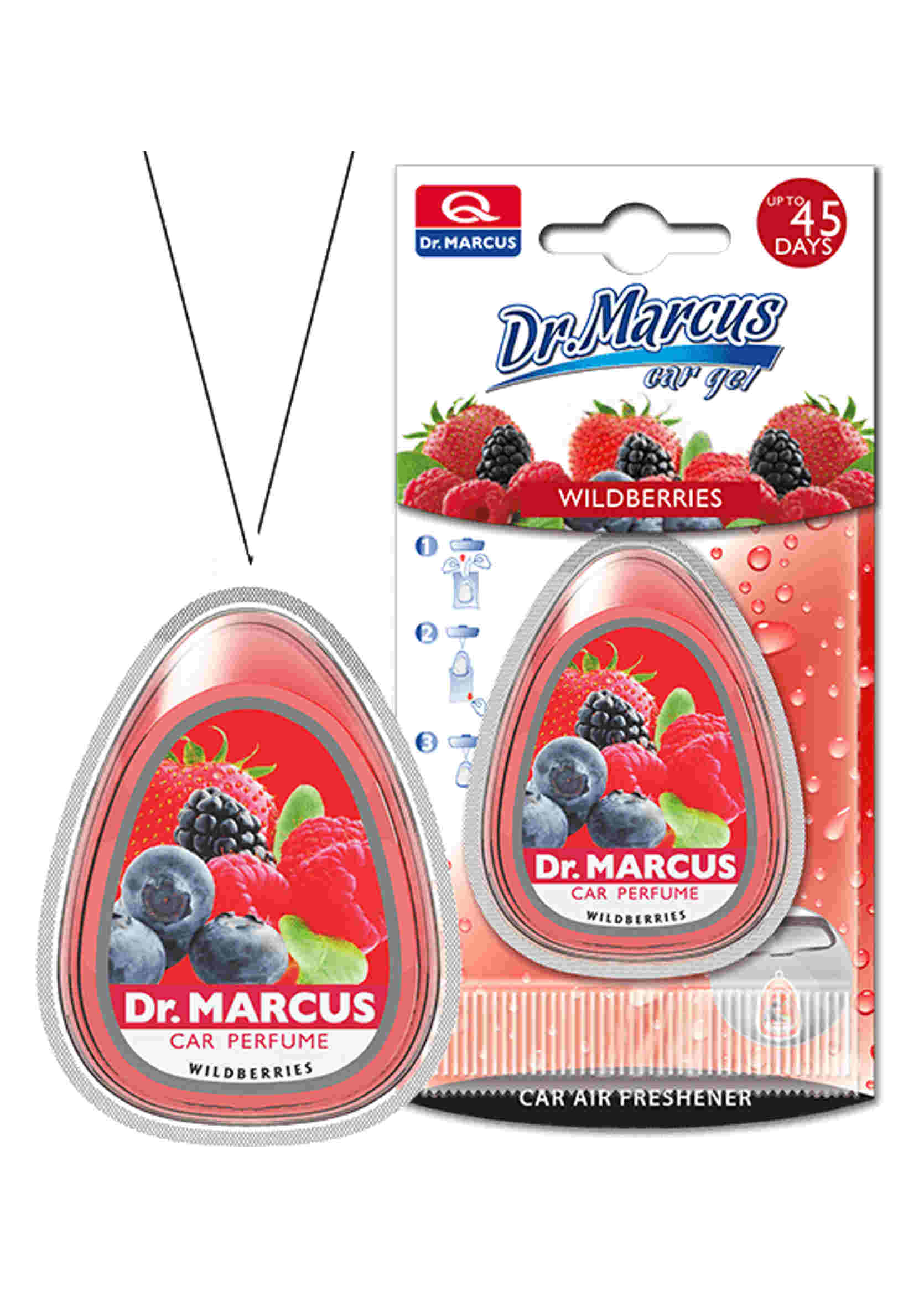 Dr. Marcus Car Gel Wildberries 10ml Żelowy Odświeżacz Powietrza Owoce Leśne