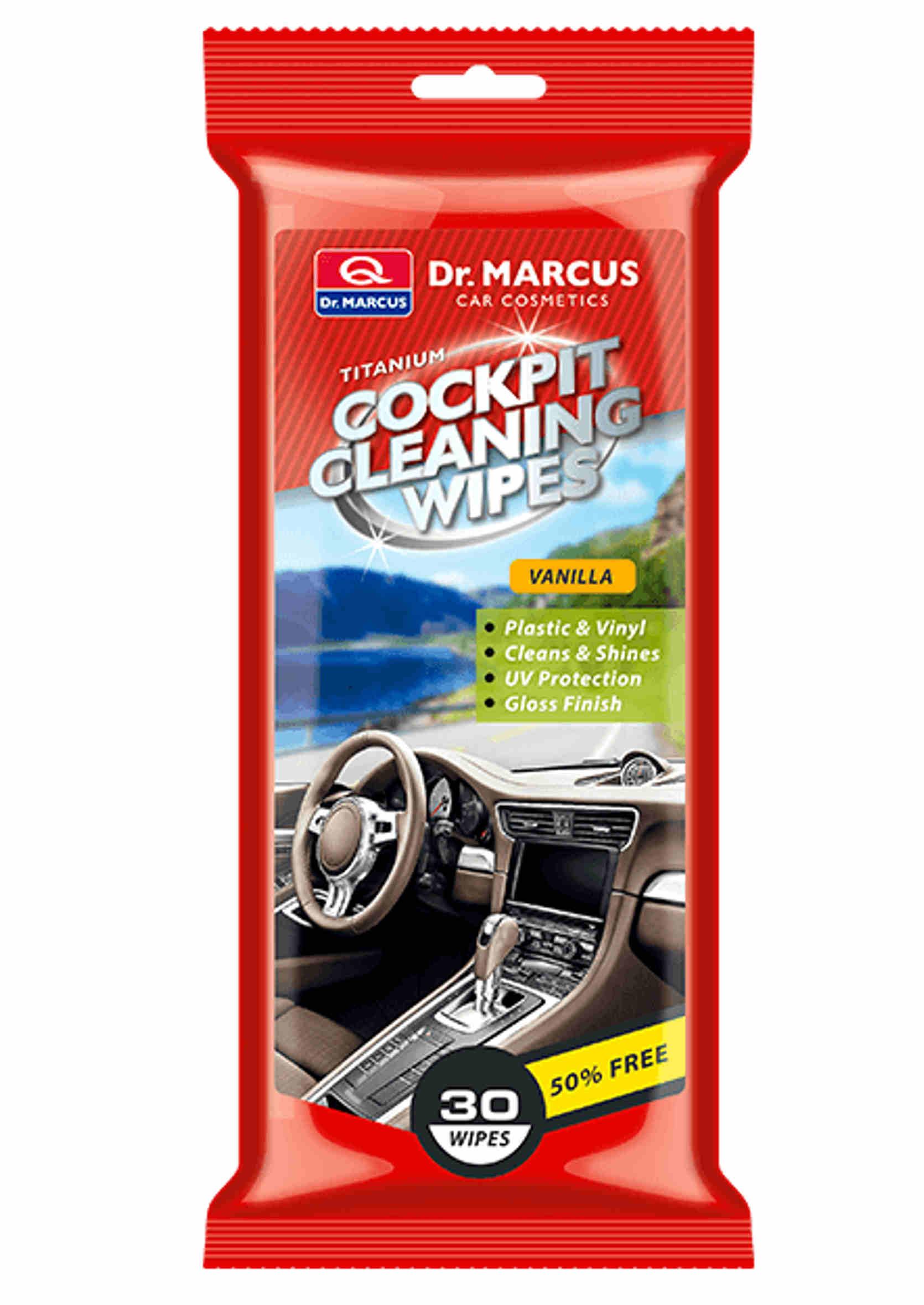 Dr. Marcus Cockpit Cleaning Wipes Vanilla 30szt Nabłyszczające Chusteczki do Kokpitu