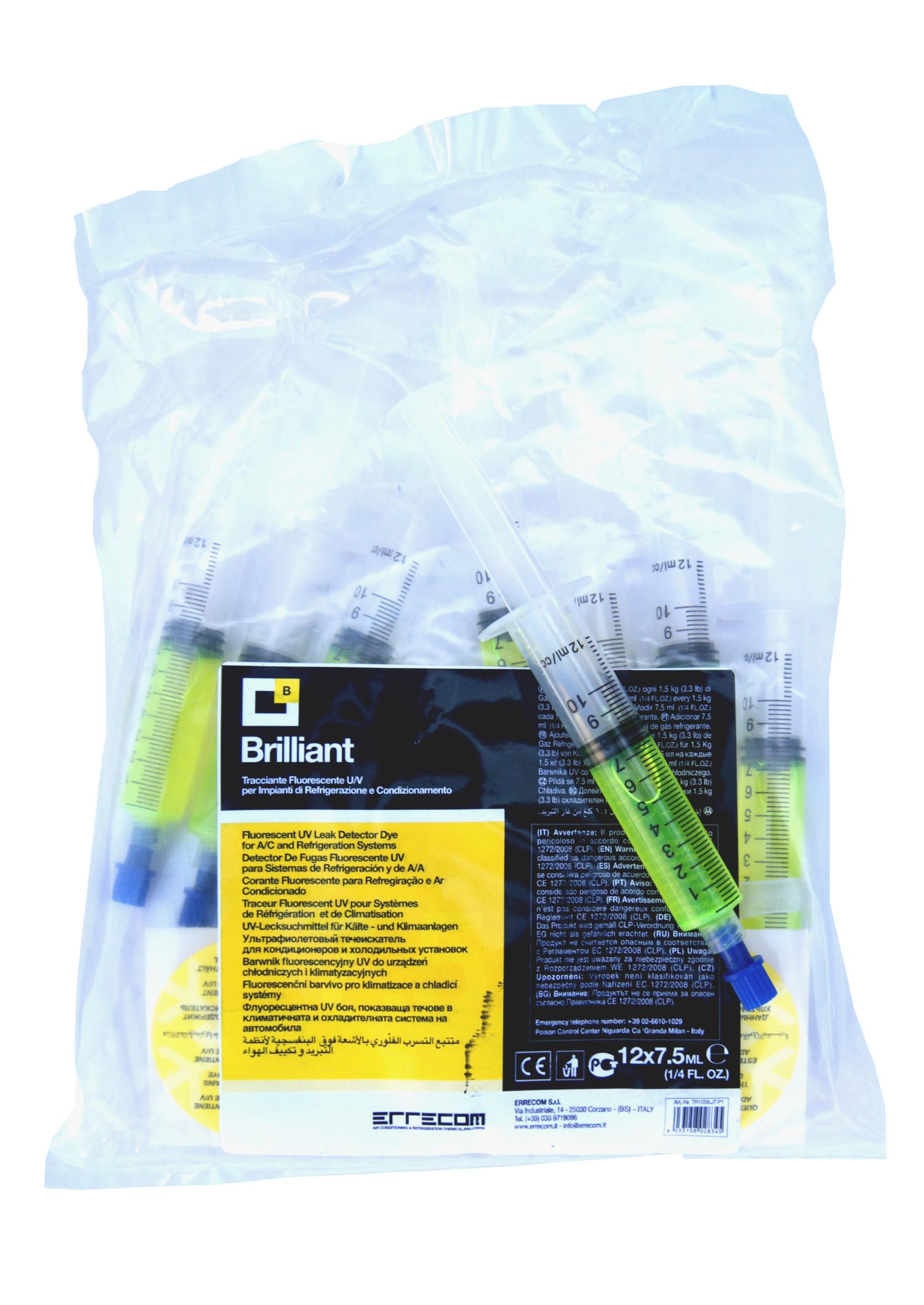 Errecom Brilliant 7,5ml Fluorescencyjny Barwnik UV do Klimatyzacji Kontrast Strzykawka