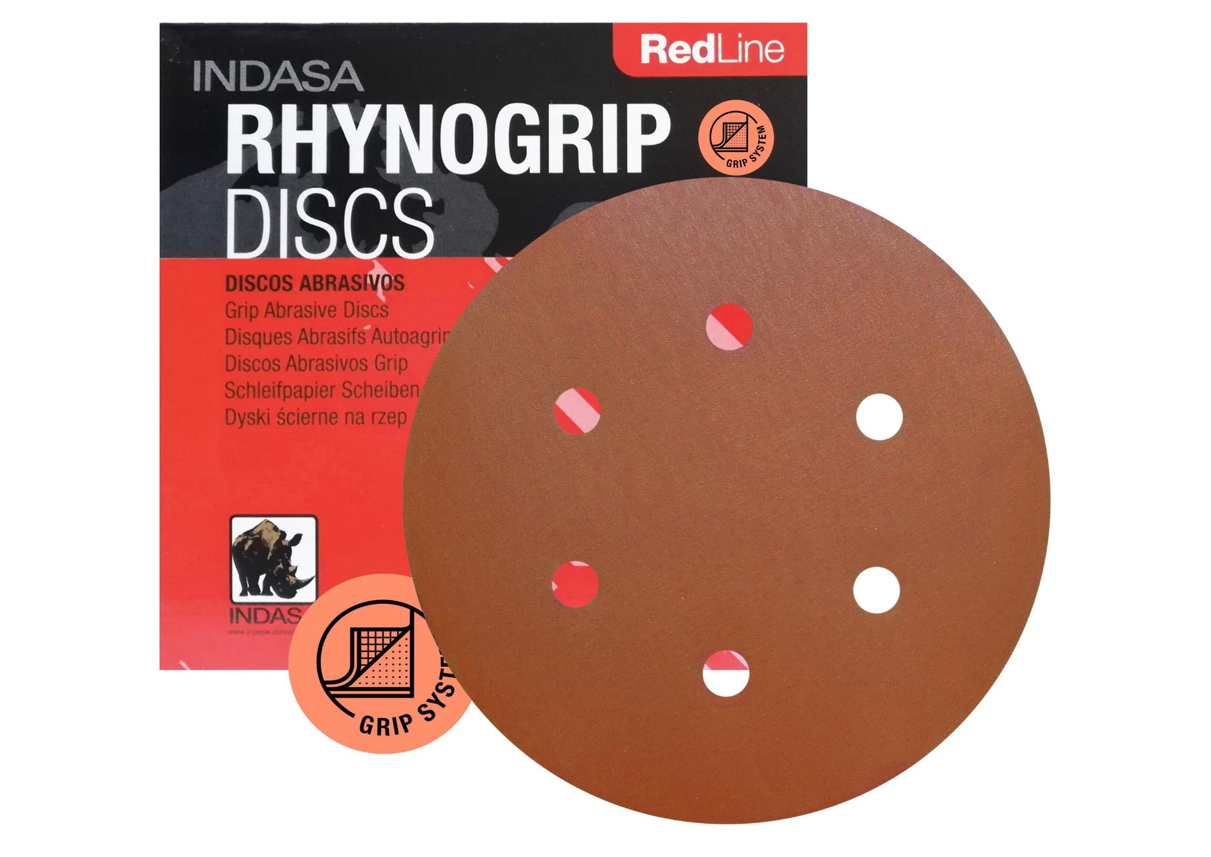 Indasa Rhynogrip Red Line P1000 Papier Ścierny Krążek 150mm 6 Otworów 1szt.