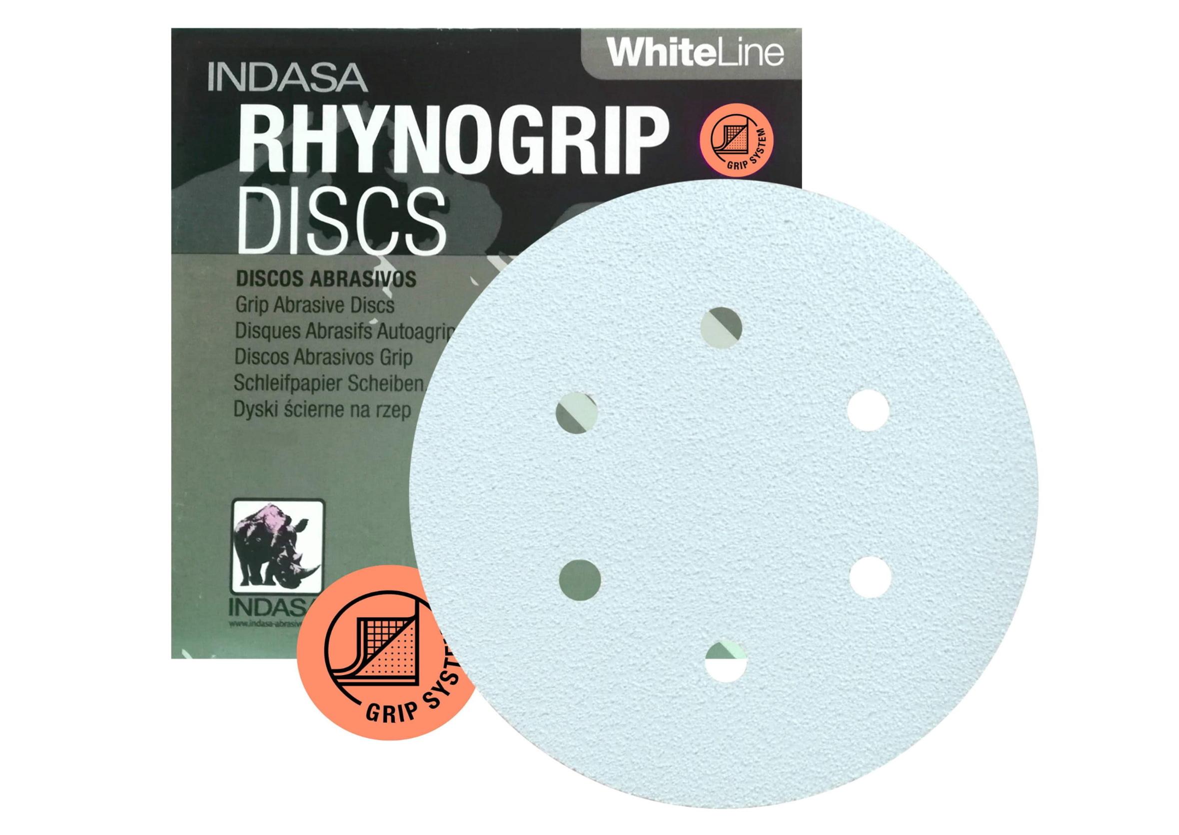 Indasa Rhynogrip White Line P100 Papier Ścierny Krążek 150mm 6 Otworów 1szt.