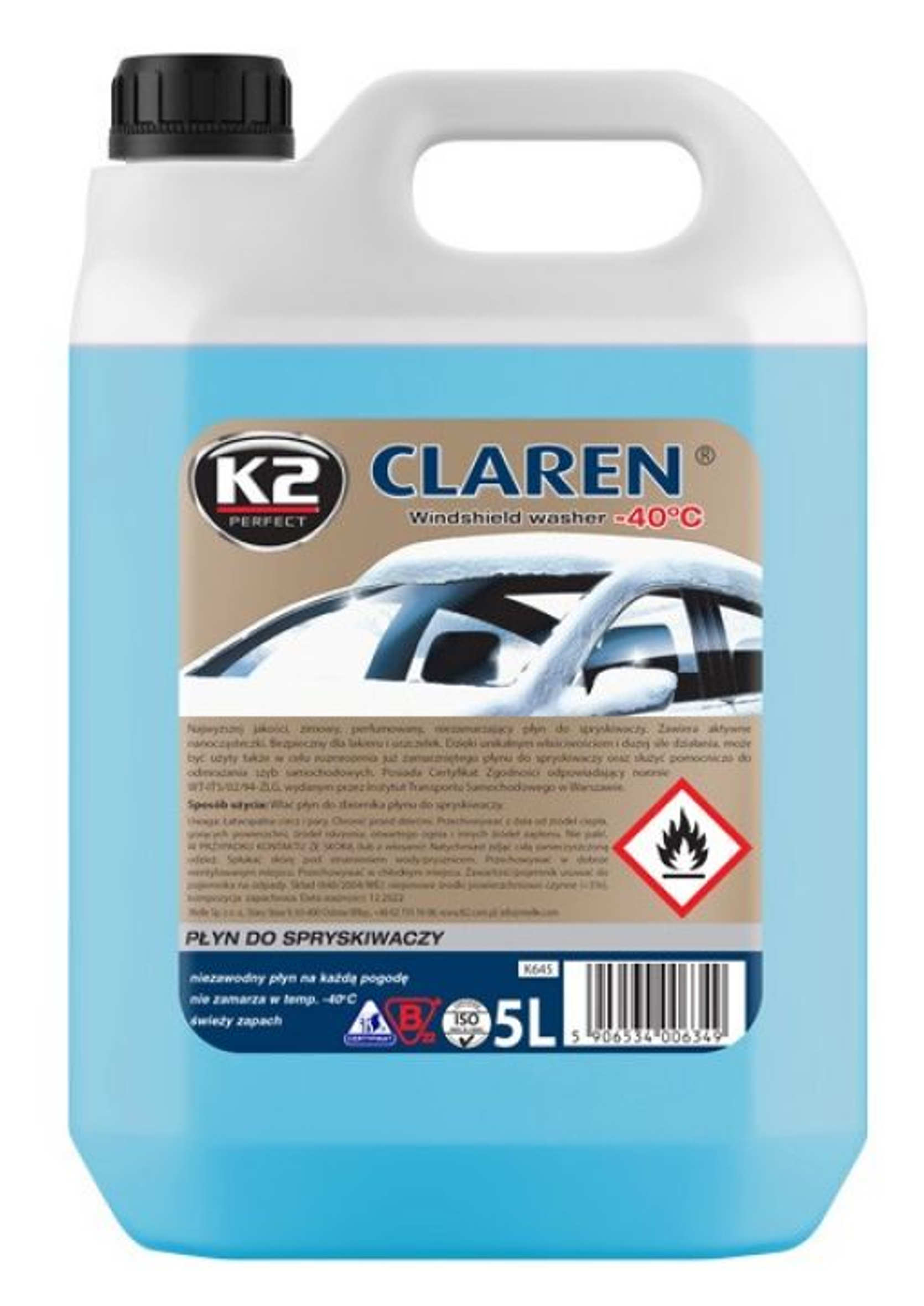 K2 Claren Płyn do Spryskiwaczy Zimowy - 40C 5L