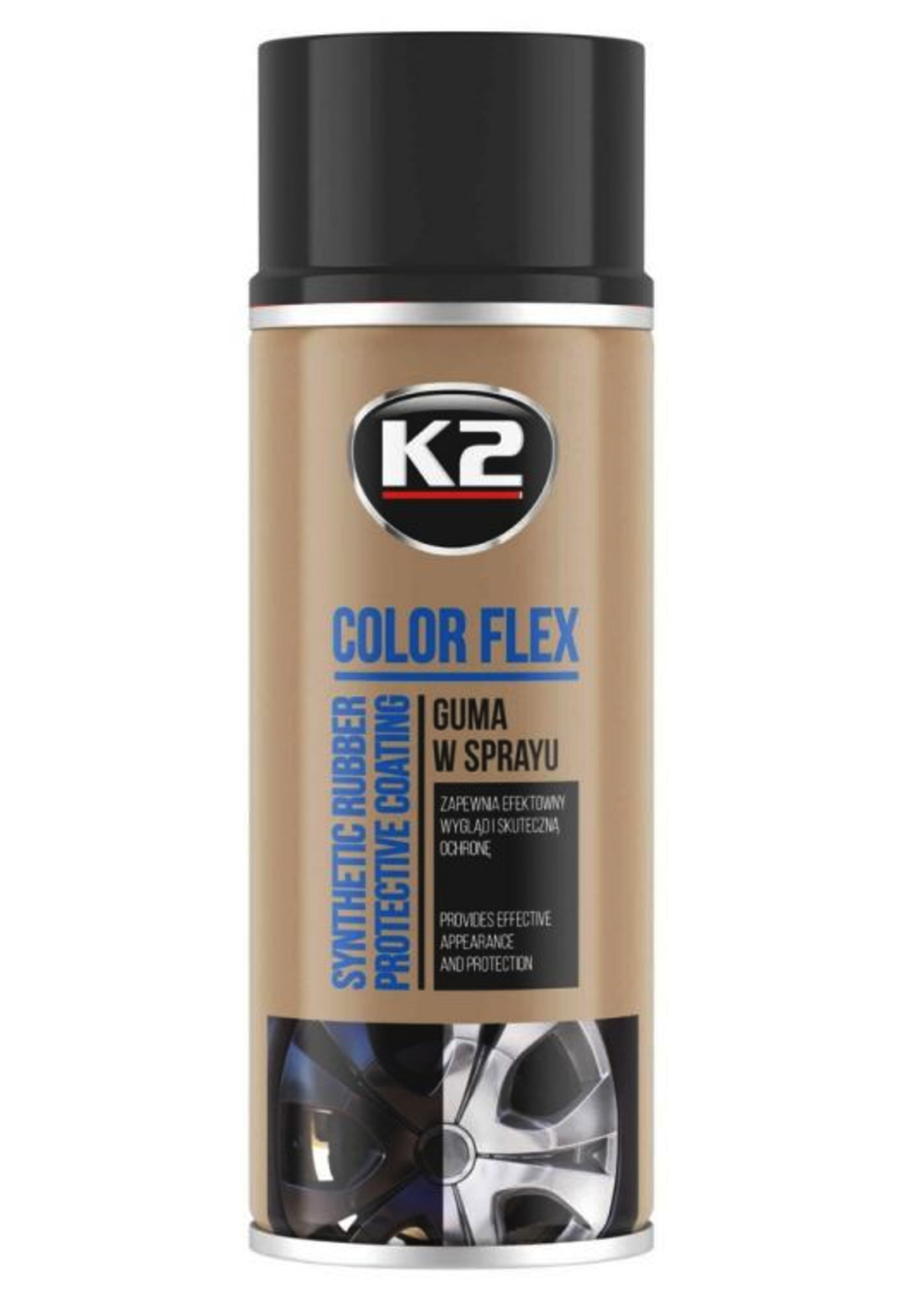 K2 Color Flex Czarny Mat 400ml Guma w Sprayu