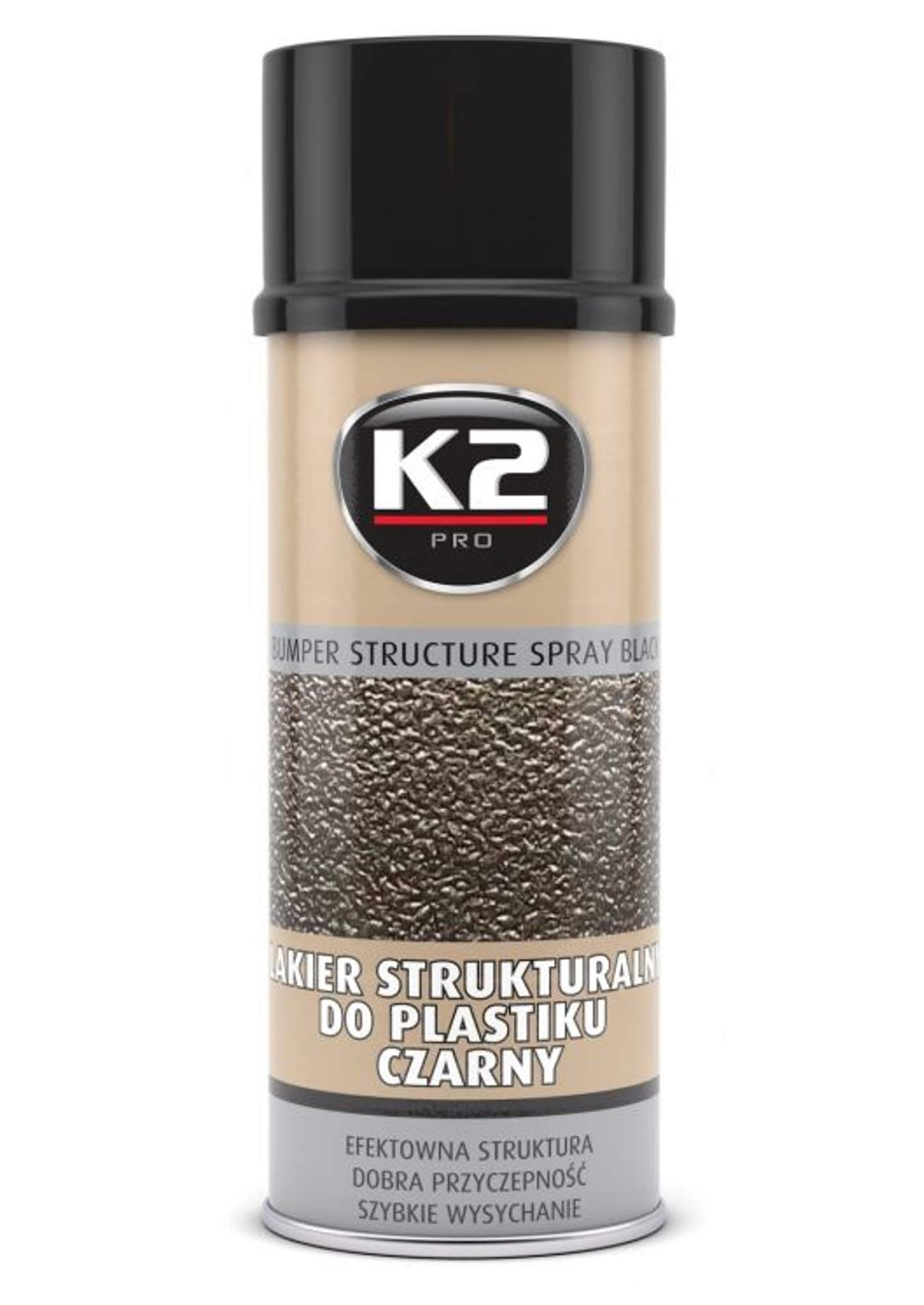 K2 Lakier Strukturalny Czarny do Plastików Zderzaka 400ml