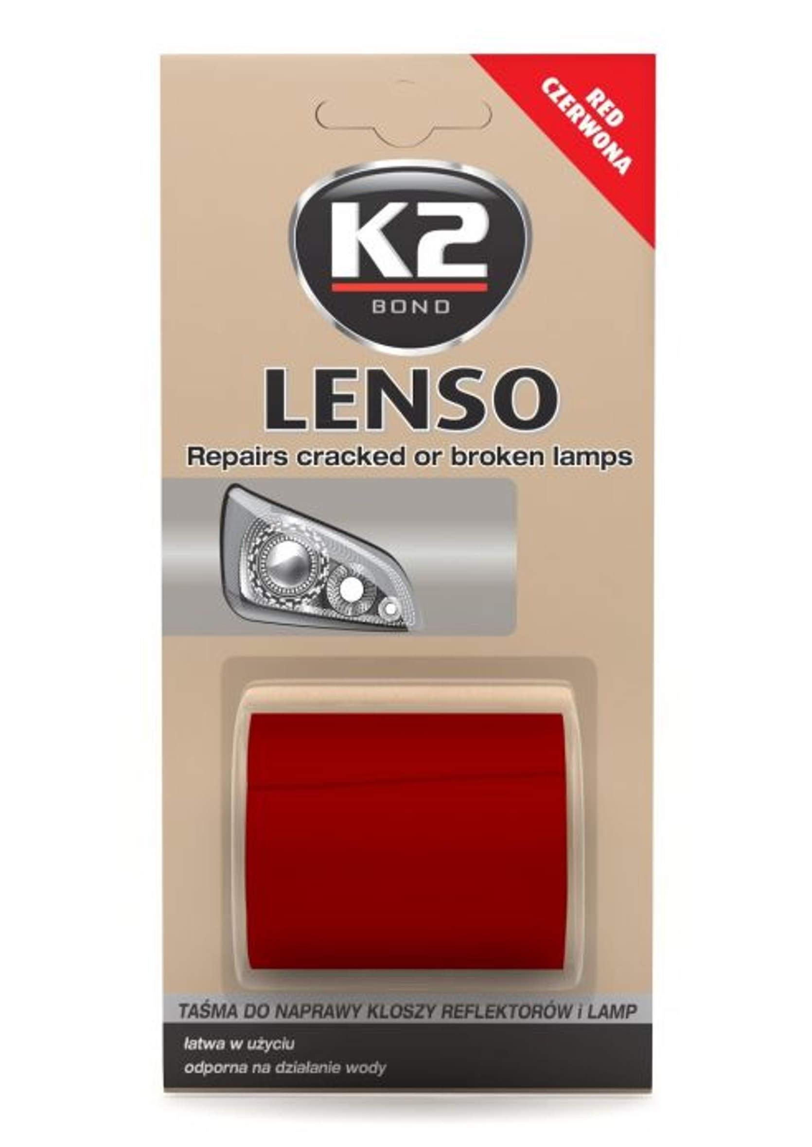 K2 Lenso Czerwona 1,5m Taśma do Naprawy Pękniętych Lamp Tylnych