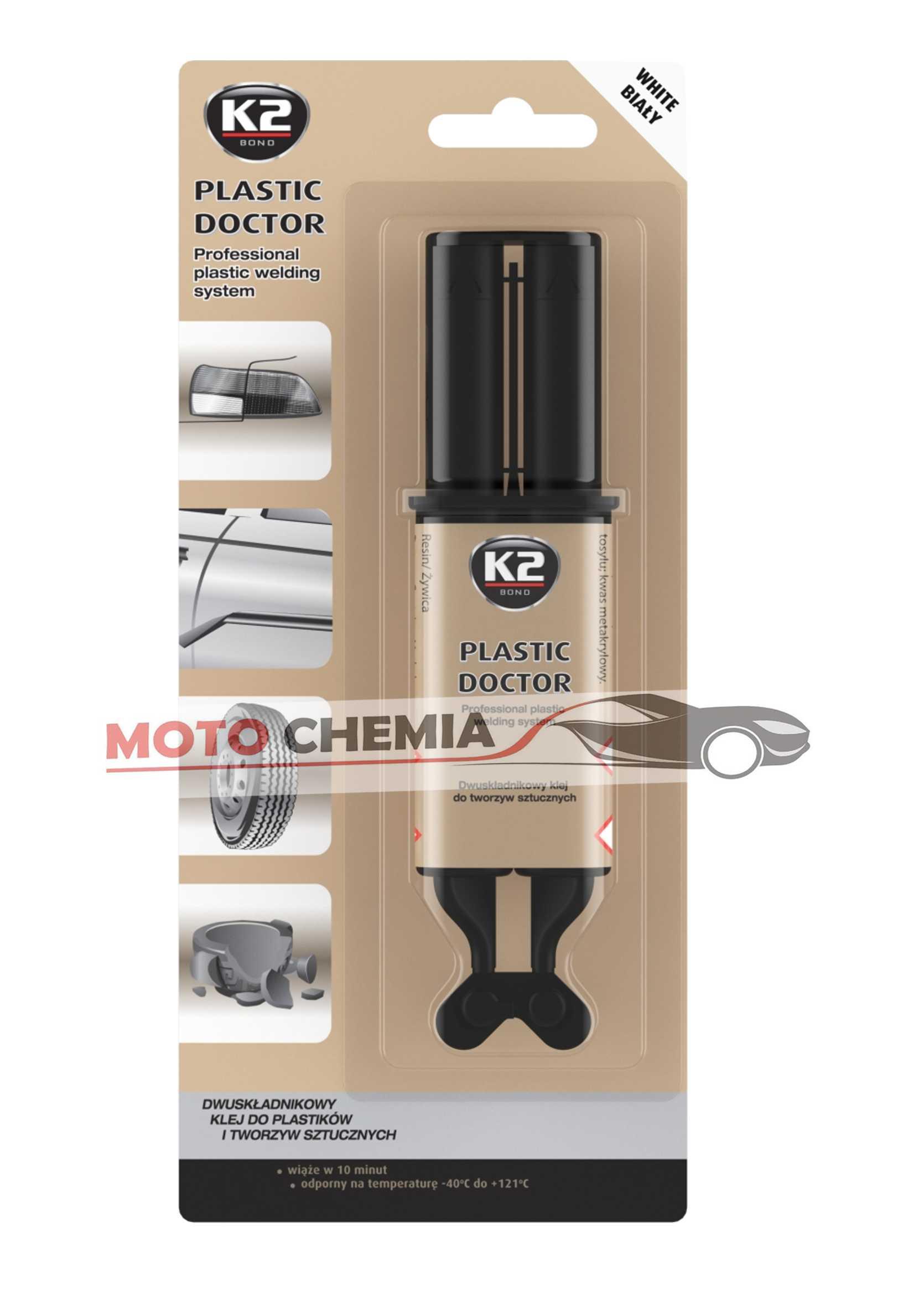K2 Plastic Doctor Dwuskładnikowy Klej do Tworzyw Sztucznych Biały 28g