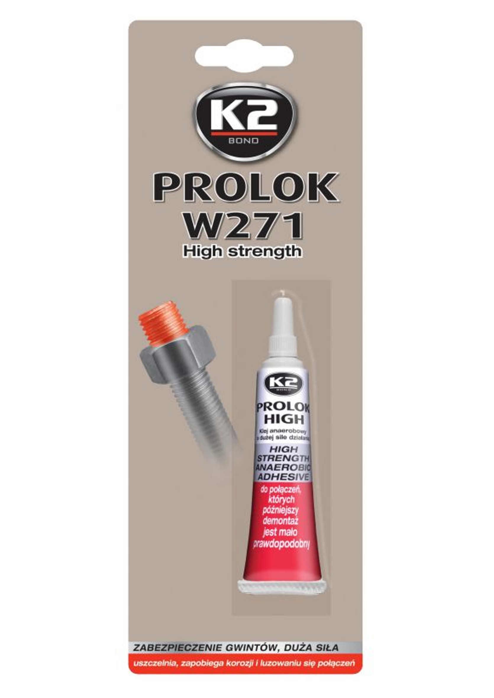 K2 Prolok High W271 6ml Klej Anaerobowy do Gwintów Mocny Czerwony