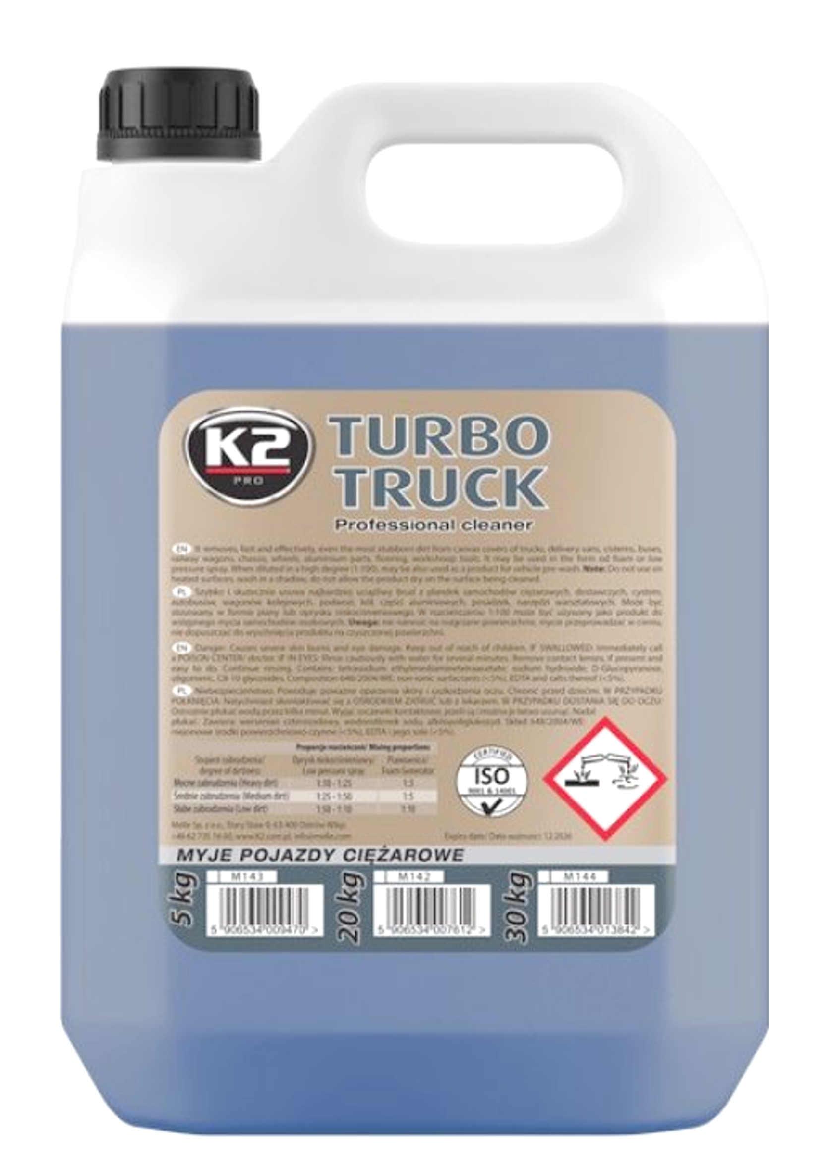 K2 Turbo Truck Cleaner Piana Aktywna do Mycia Ciężarówek i Plandek 5kg