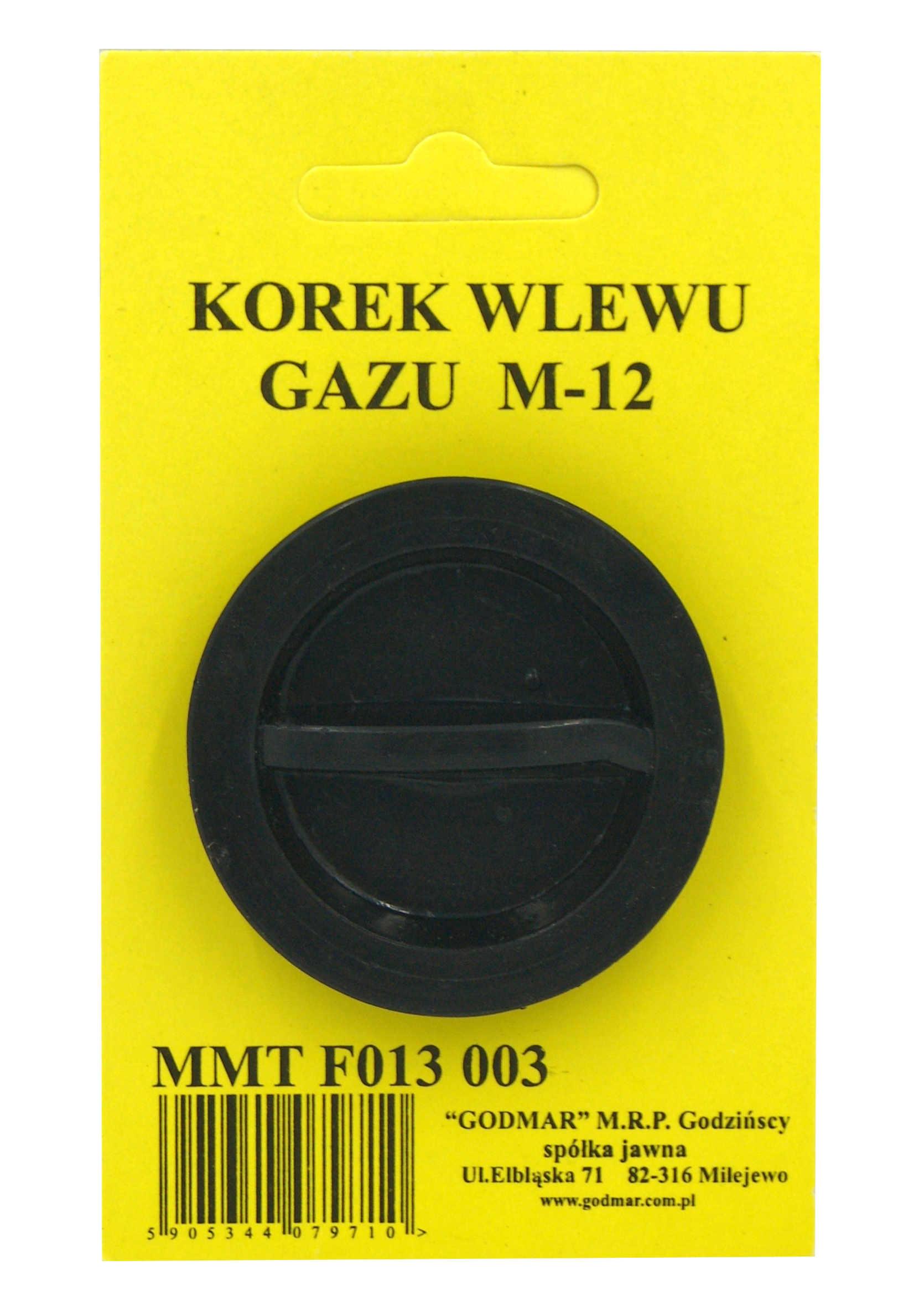 Korek do wlewu gazu w samochodzie LPG 12mm