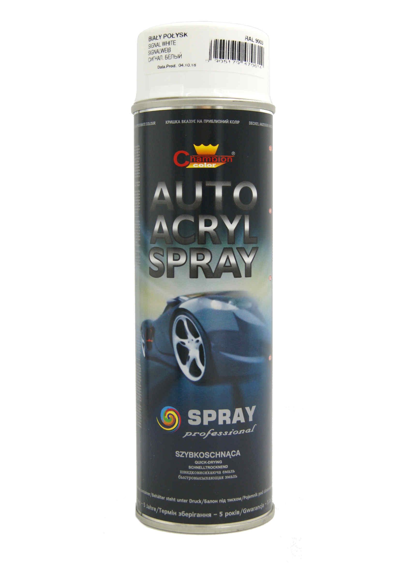Champion Auto Acryl Biały Połysk 9003 500ml Lakier Akrylowy w Sprayu