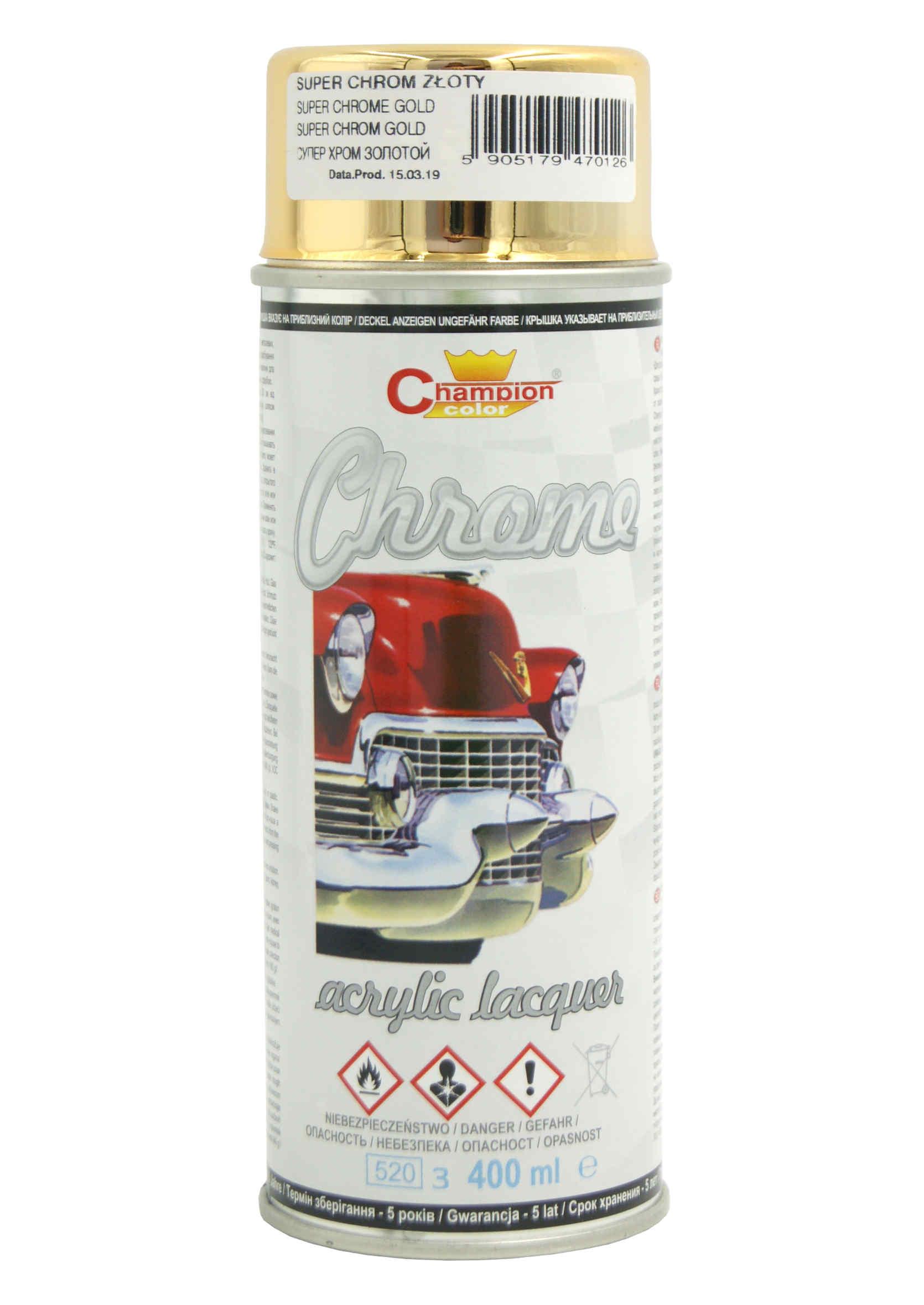 Ozdobny Lakier Akrylowy Złoty Super Chrome do malowania felg w sprayu 400ml Champion
