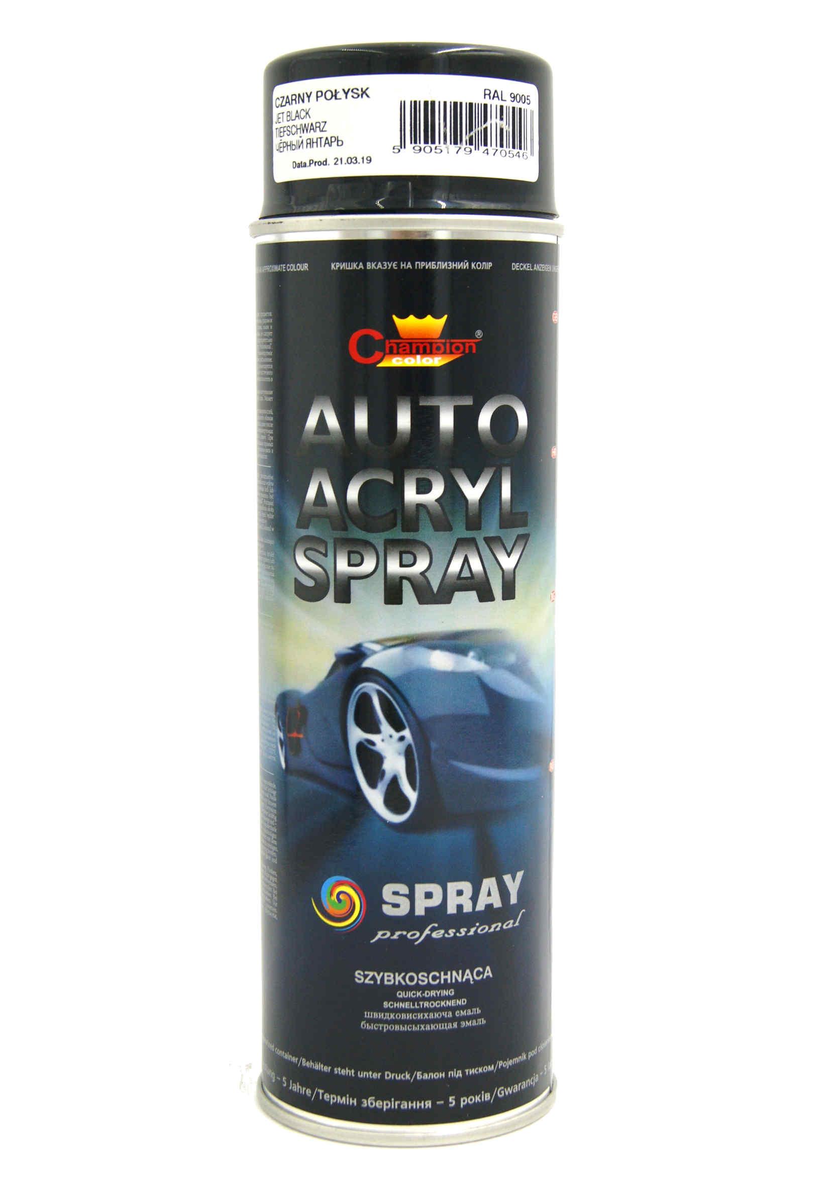 Champion Auto Acryl Czarny Połysk 9005 500ml Lakier Akrylowy w Sprayu