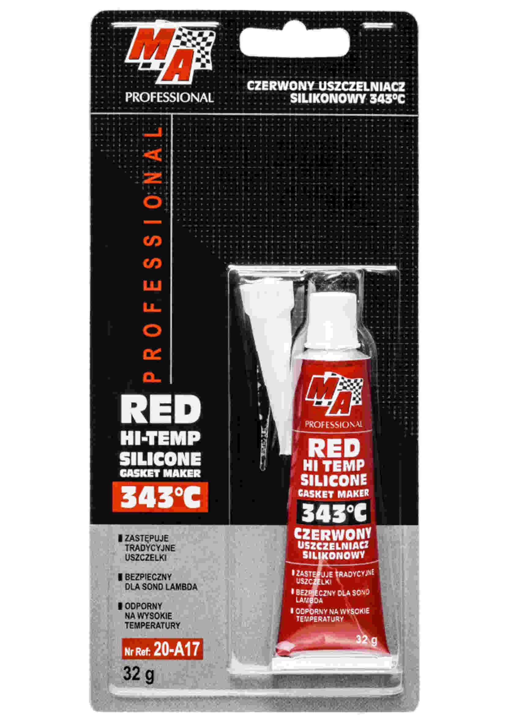 MA Professional Wysokotemperaturowy Silikon Czerwony +343C w Tubce 32g