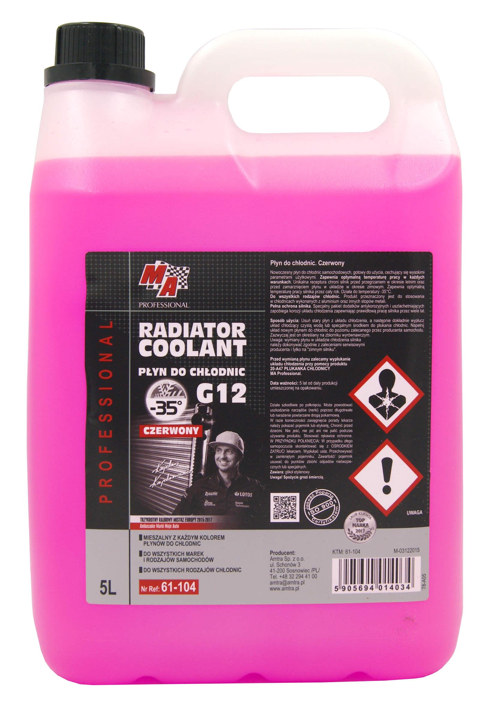 MA Professional Czerwony Płyn do Układu Chłodzenia Radiator Coolant G12 5L