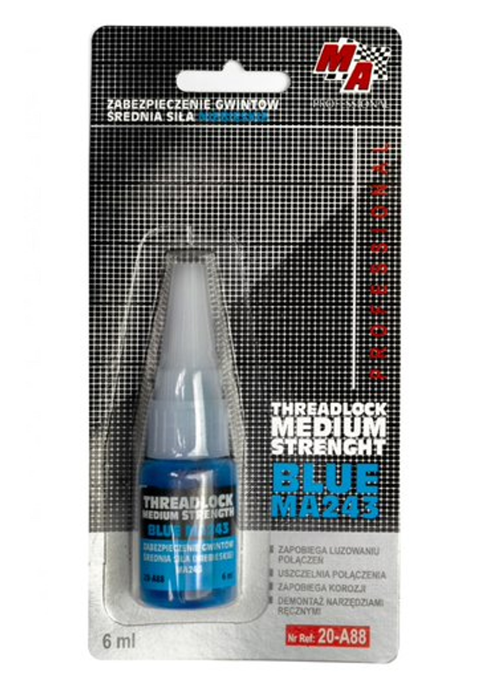 MA Professional Klej do Gwintów Średni Blue MA243 6ml