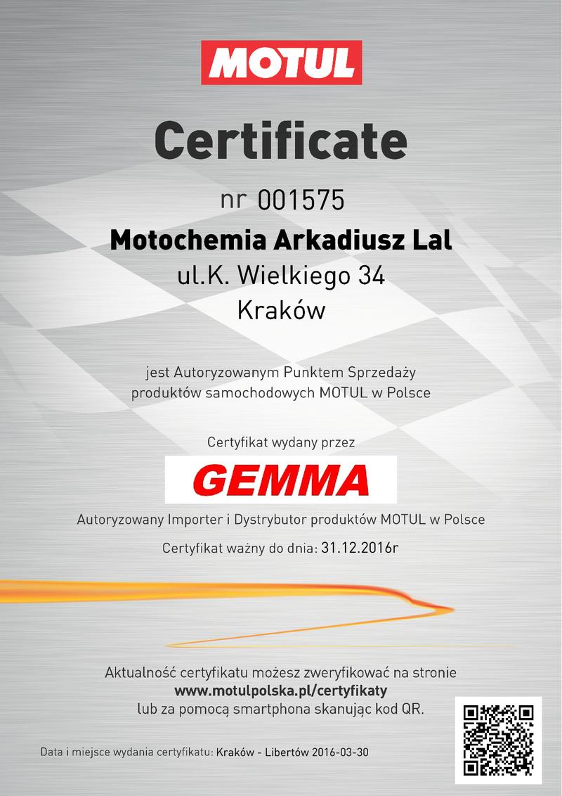 Certyfikat Autoryzowanego Punktu Sprzedaży Olejów Motul - Motoochemia