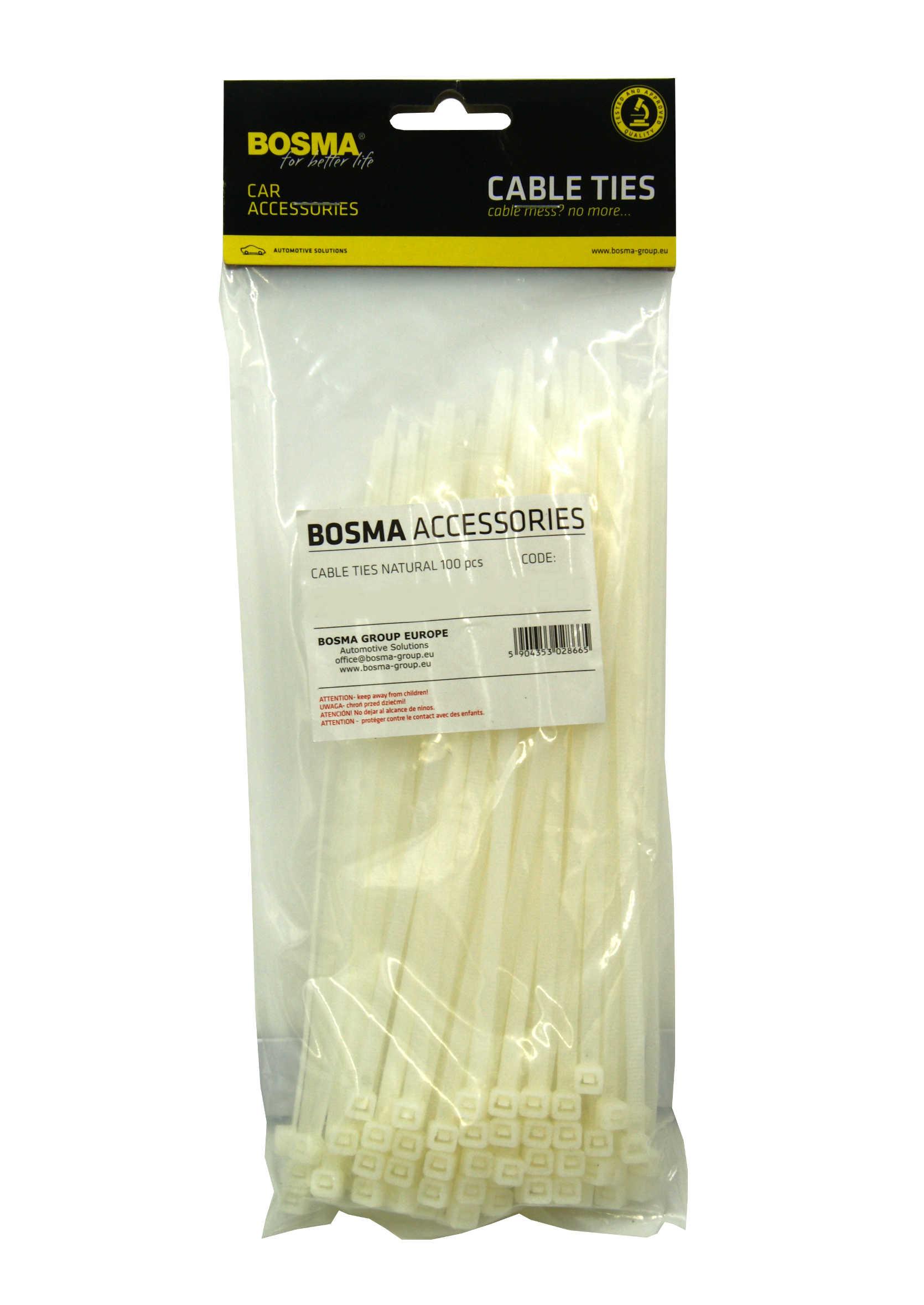Opaski Kablowe Plastikowe Białe 3.6x300mm Mocujące Zaciskowe Uniwersalne 100 szt.
