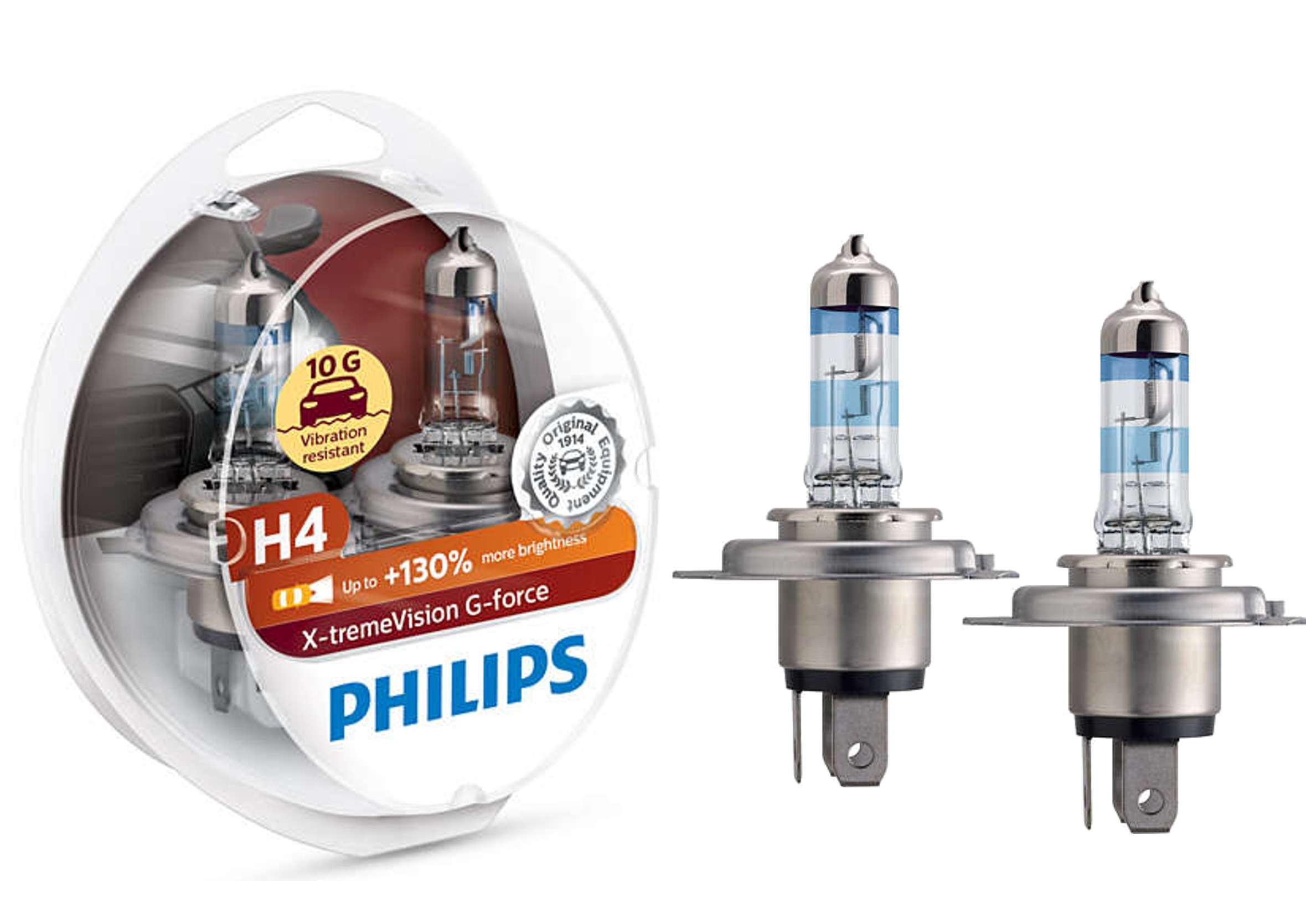 Philips X-treme Vision G-force 130% H4 12V 60/55W P43t Żarówki Samochodowe 2szt.