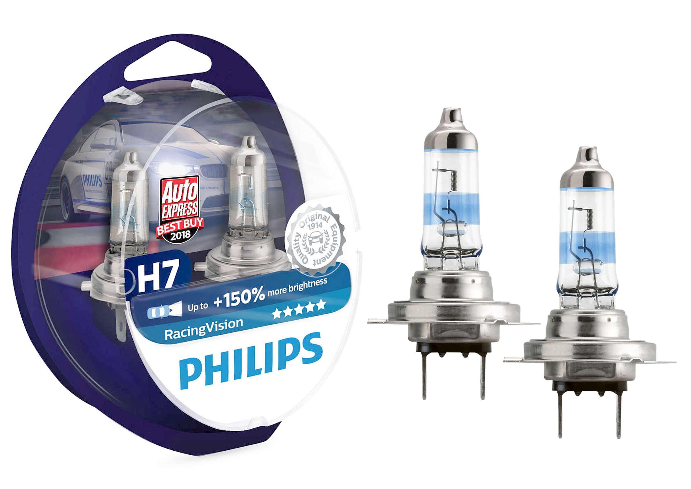 Philips Racing Vision +150% H7 12V 55W PX26d Żarówki Samochodowe 2szt.