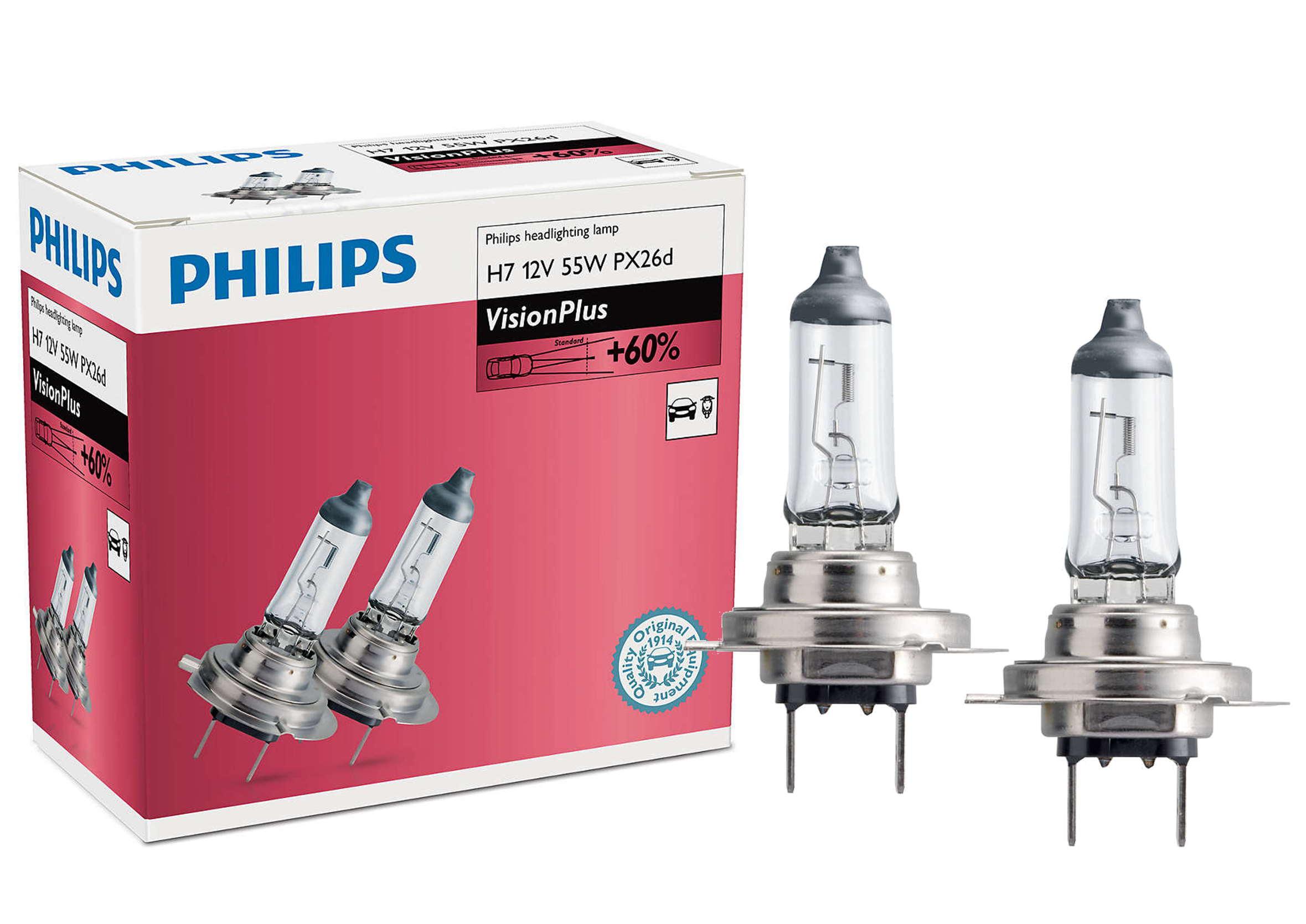 Philips Vision Plus +60% H7 12V 55W PX26d Żarówki Samochodowe 2szt.