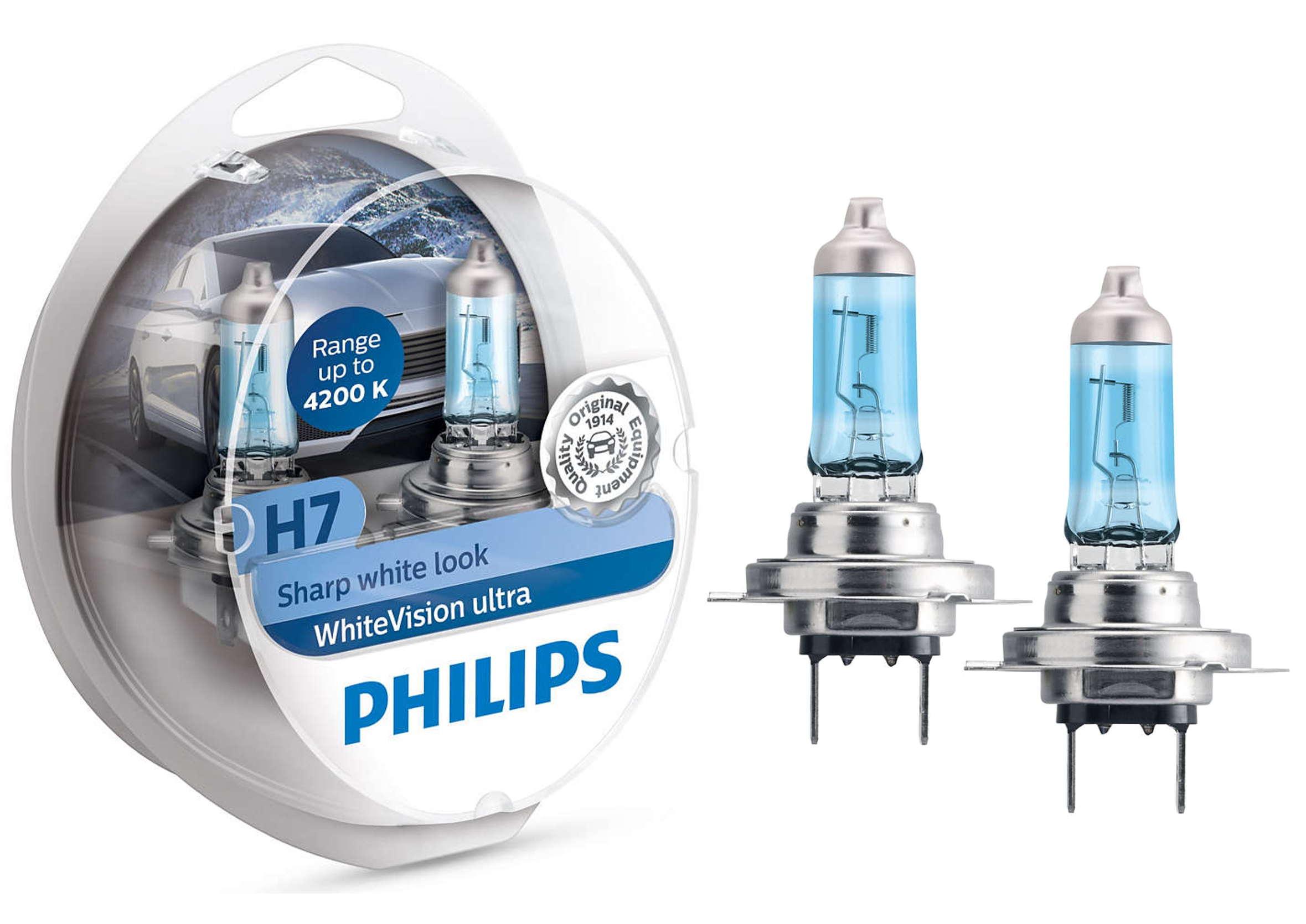 Philips White Vision Ultra +60% H7 12V 55W PX26d Żarówki Samochodowe 2szt.