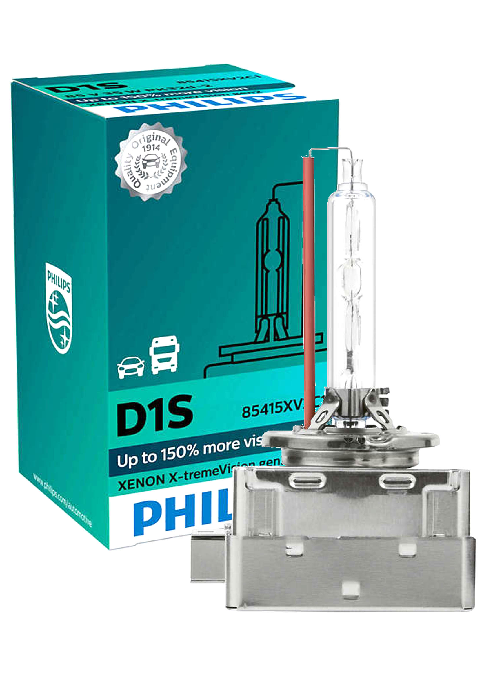 Philips X-treme Vision +150% Xenon D1S 4800K 85V 35W PK32d-2 Żarnik Ksenonowy 1szt.