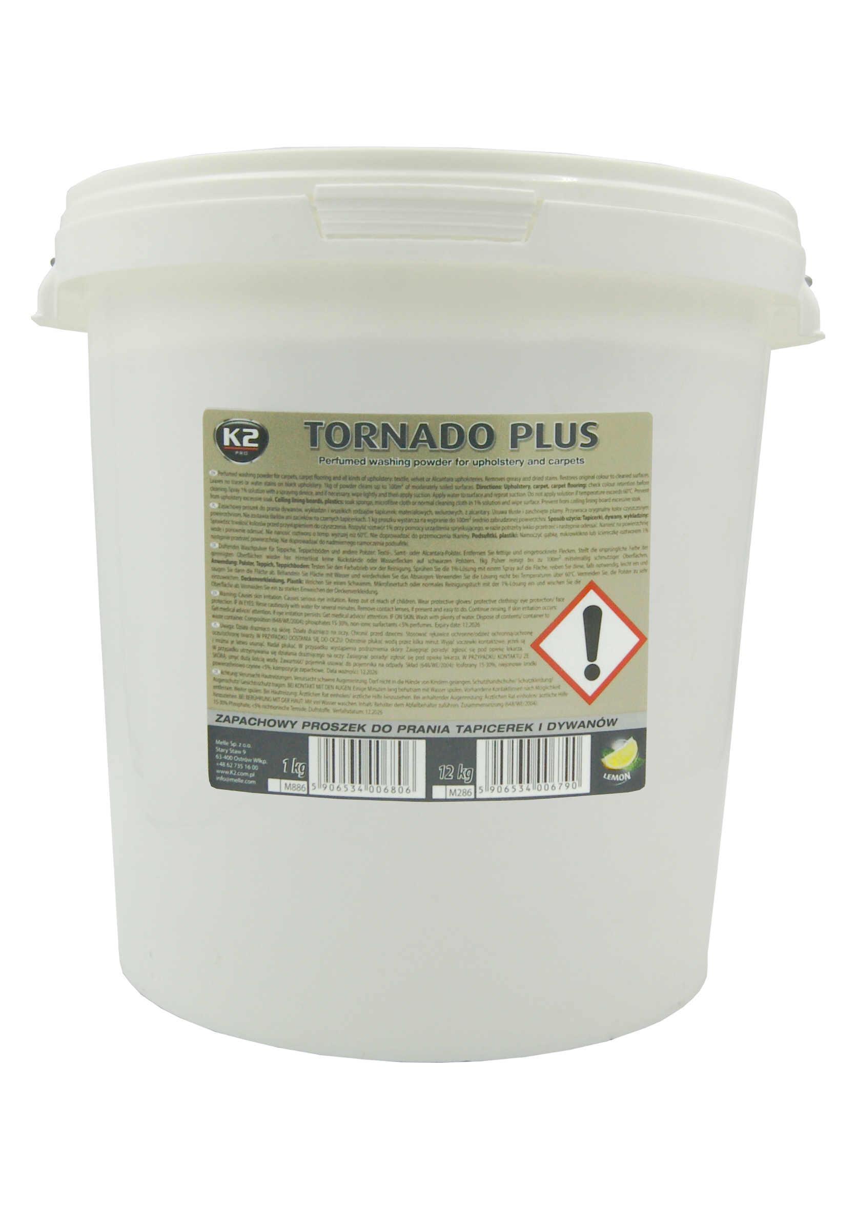 K2 Tornado Plus 12kg Zapachowy Proszek do Prania Tapicerki i Dywanów