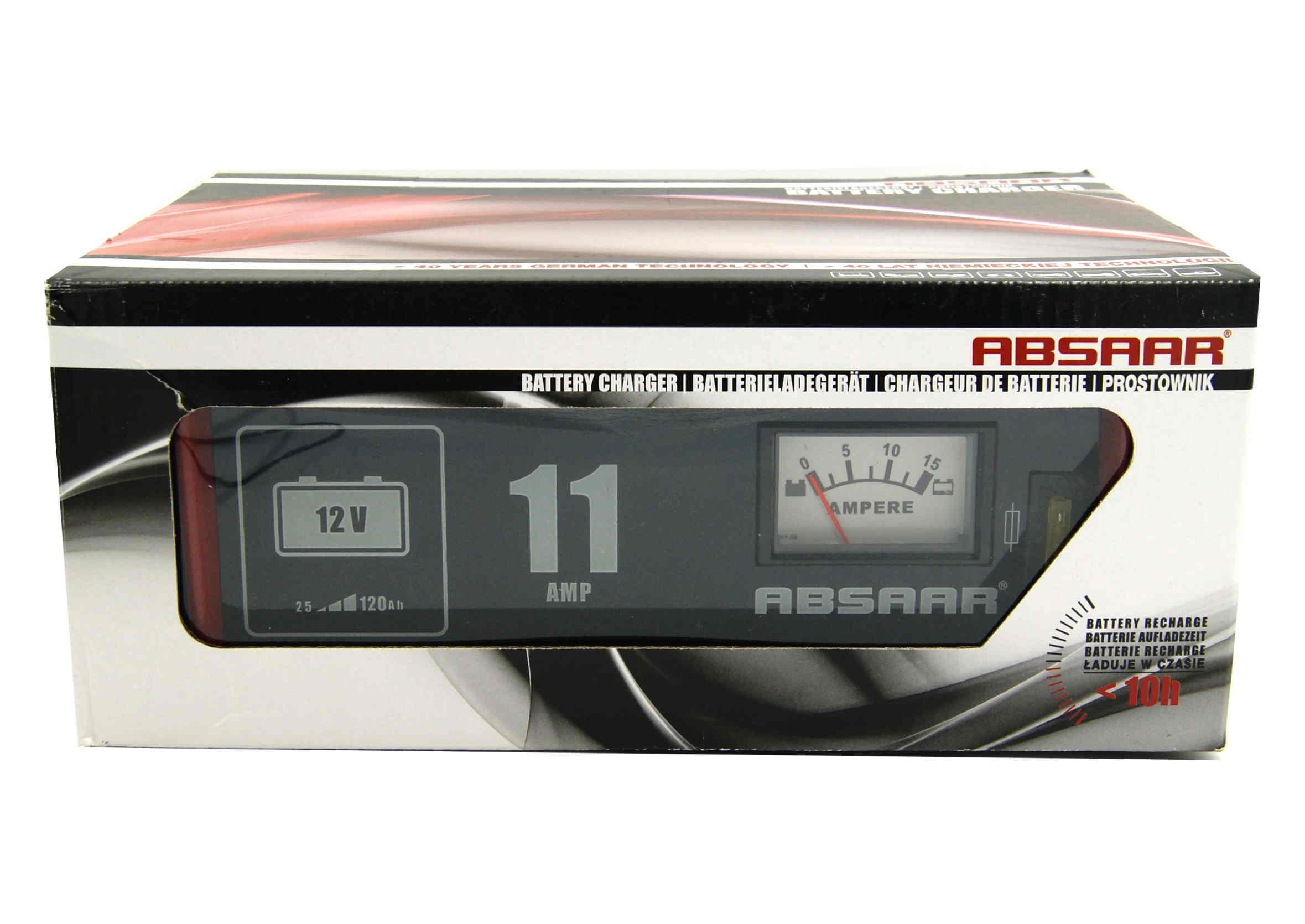 Absaar Prostownik samochodowy 11A 12V do ładowania akumulatora