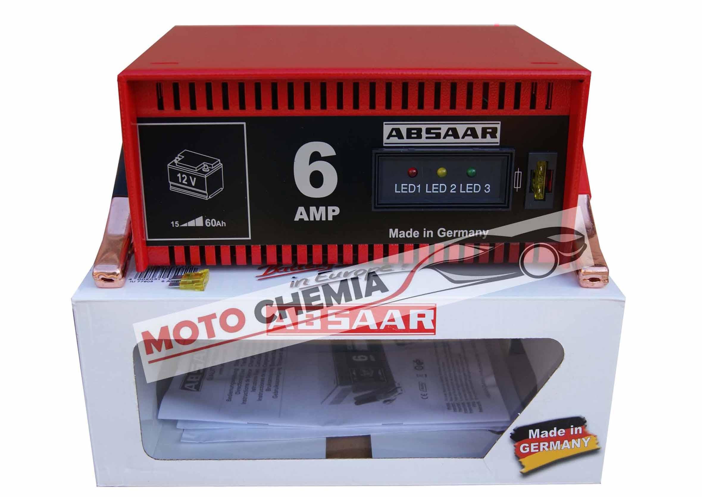 Absaar Prostownik samochodowy 6A 12V do ładowania akumulatora