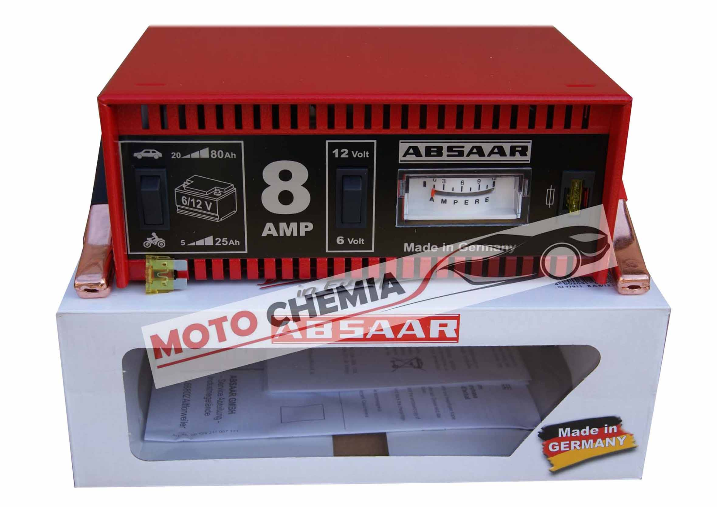 Absaar Prostownik samochodowy 8A 6/12V do ładowania akumulatora