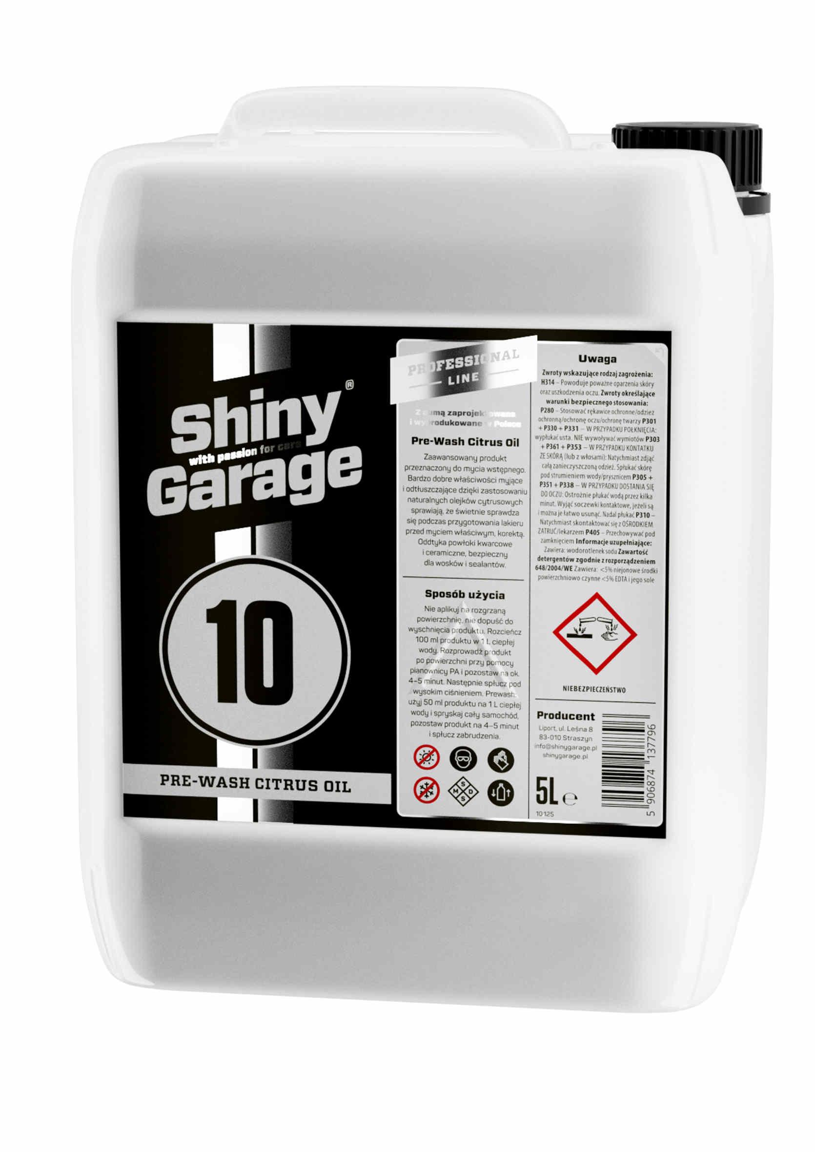 Shiny Garage Pre-Wash Citrus Oil Płyn do Mycia Wstępnego Odtłuszczający 5L