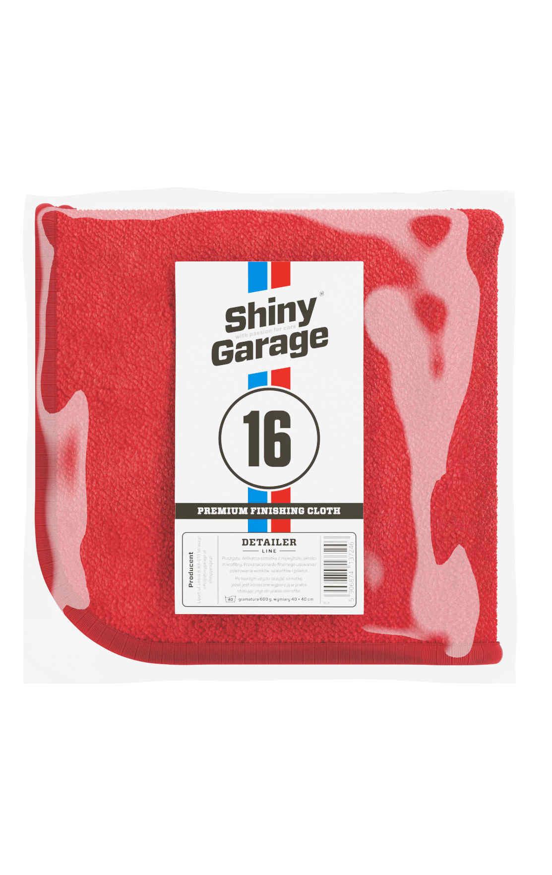 Shiny Garege Red Finisher Plush 40x40 cm Mikrofibra do Końcowego Polerowania 600 g