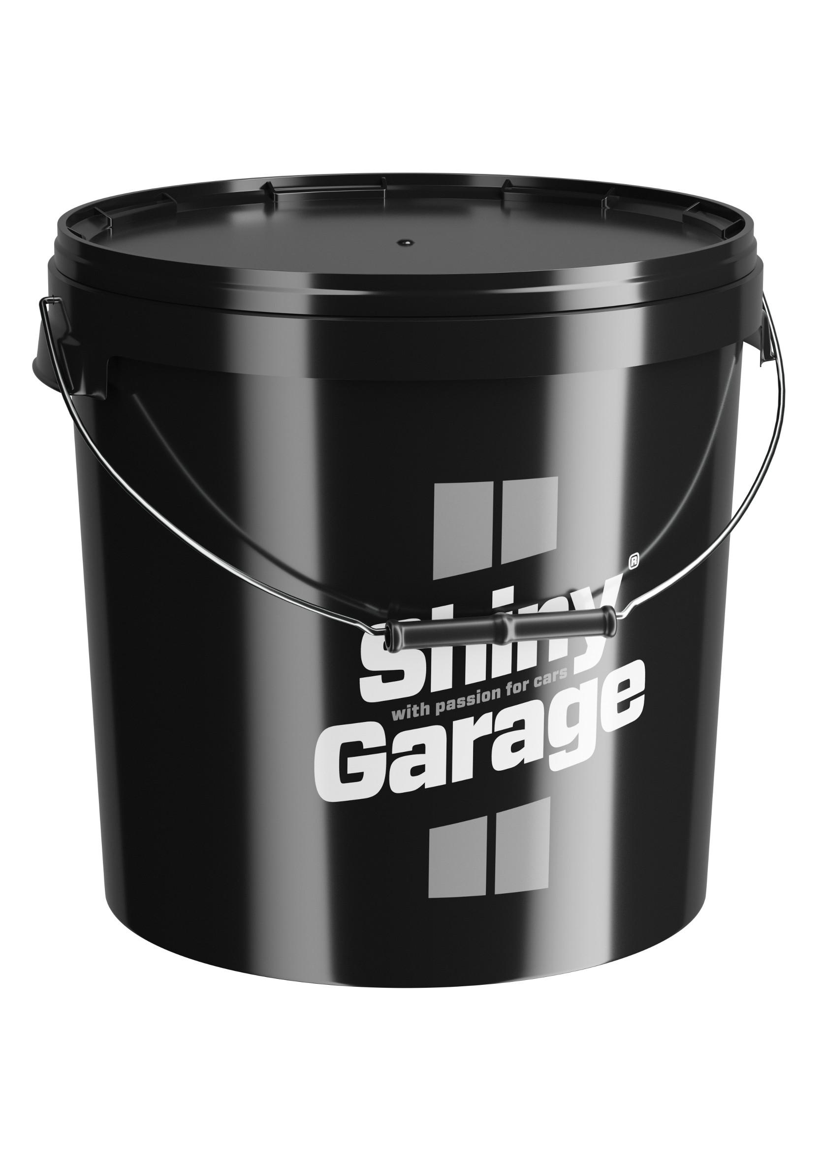 Shiny Garage Wiadro z Pokrywką Czarne 20L do Mycia Auta