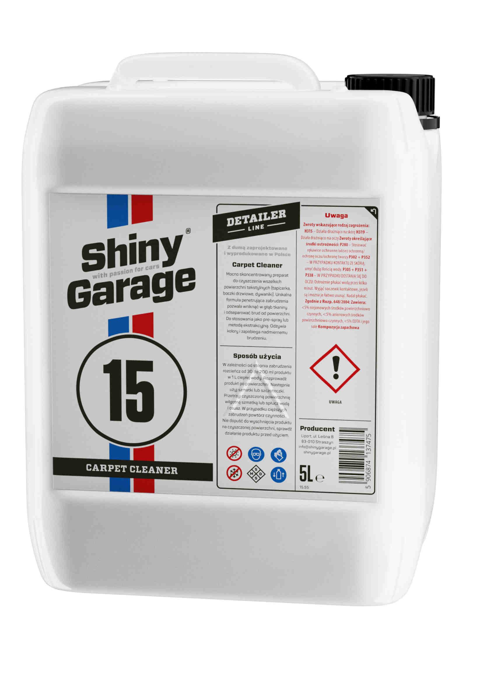 Shiny Garage Carpet Cleaner Płyn do Prania Tapicerki Materiałowej 5L