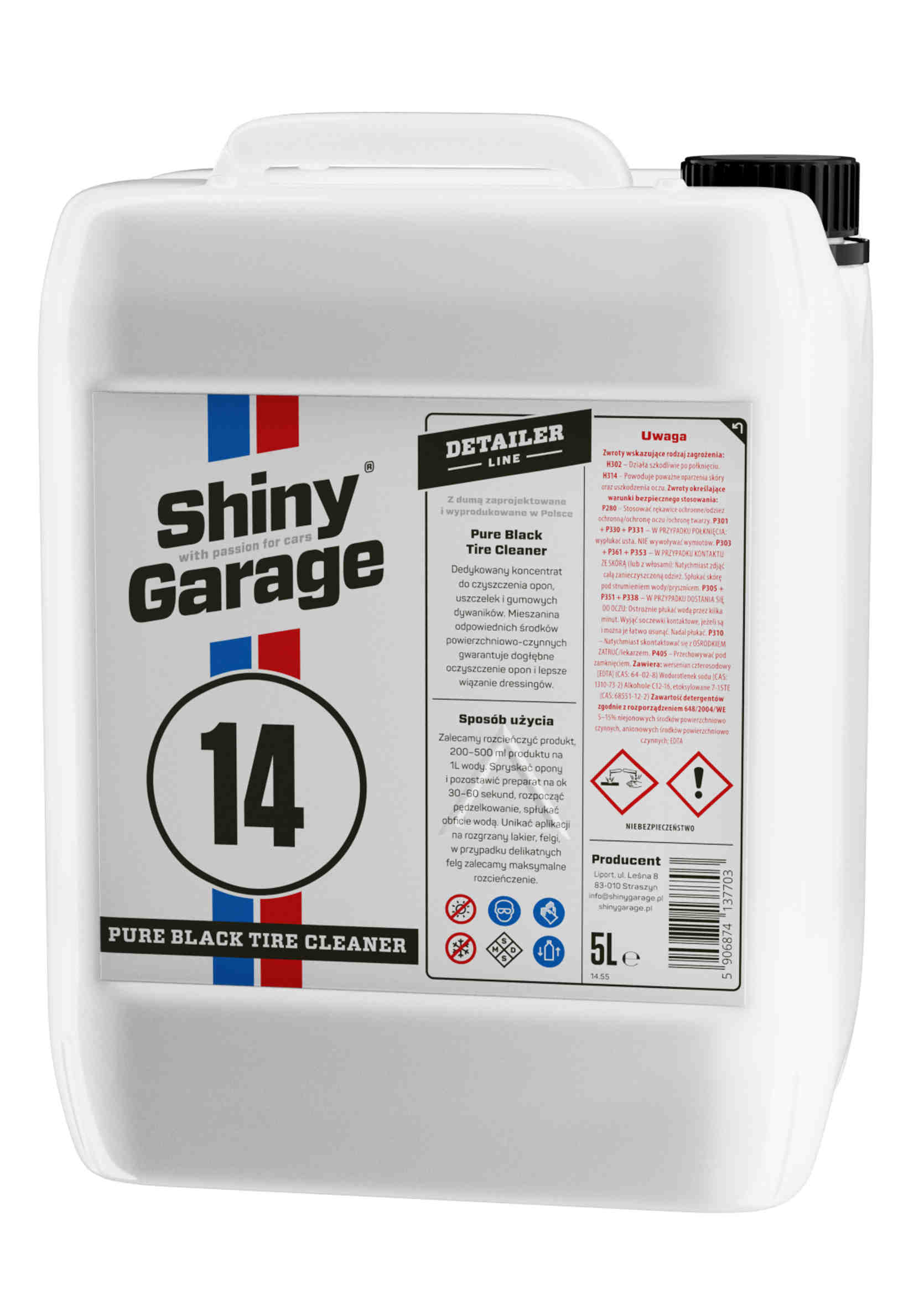 Shiny Garage Pure Black Tire Cleaner 5L Koncentrat do Czyszczenia Opon